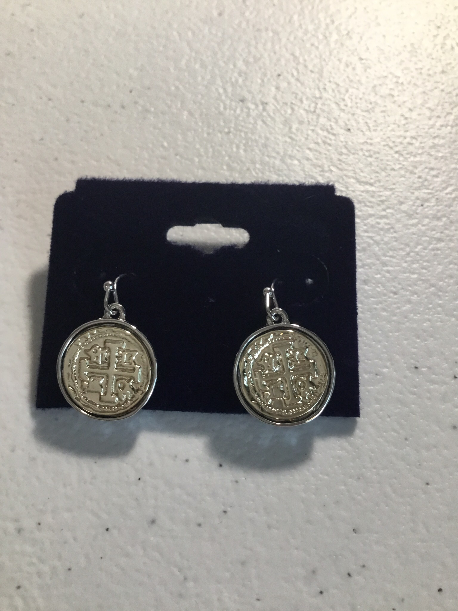 Gold and Silver Small Coin Earrings  00001
