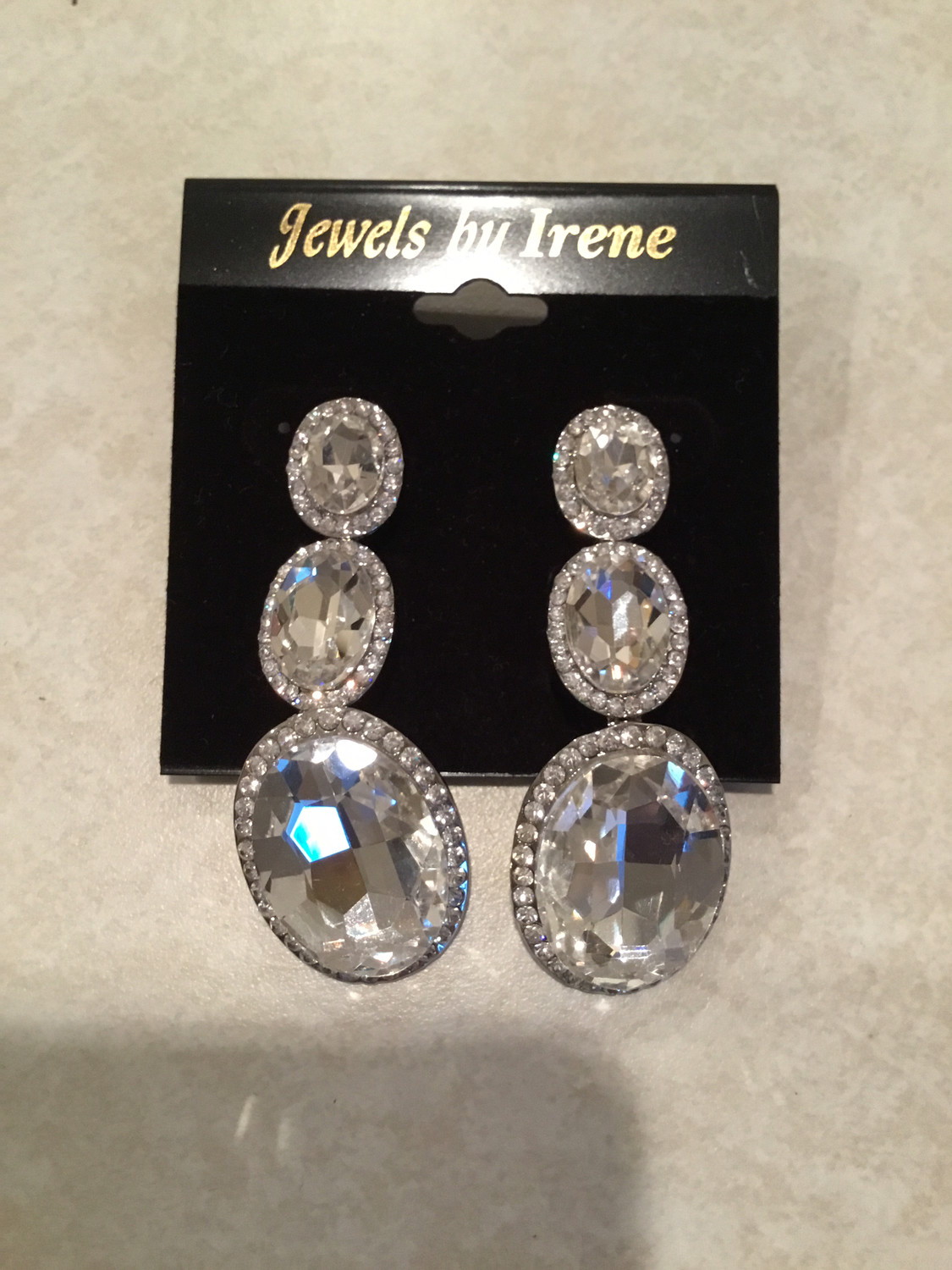 Crystal Ovals Small to Large Earrings