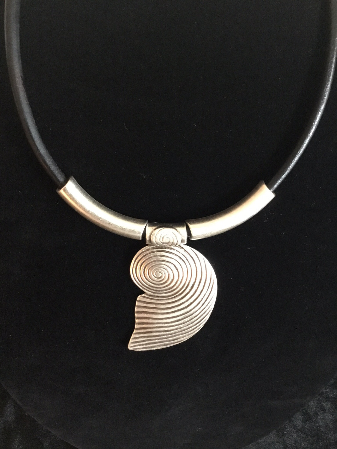 Pewter Nautilus Shell on Black leather Necklace