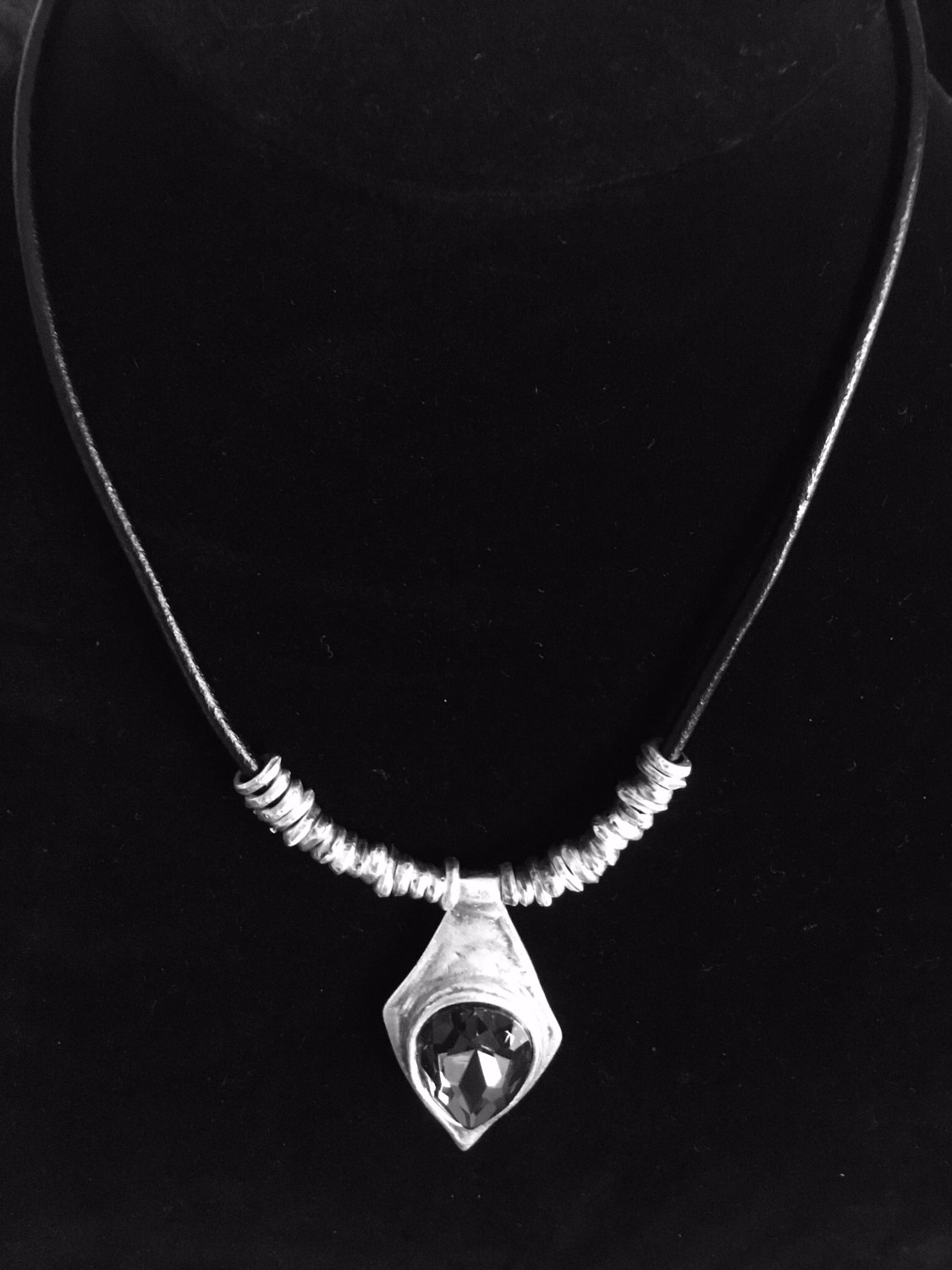 Pewter Necklace With Arrow Shape Smokey Crystal