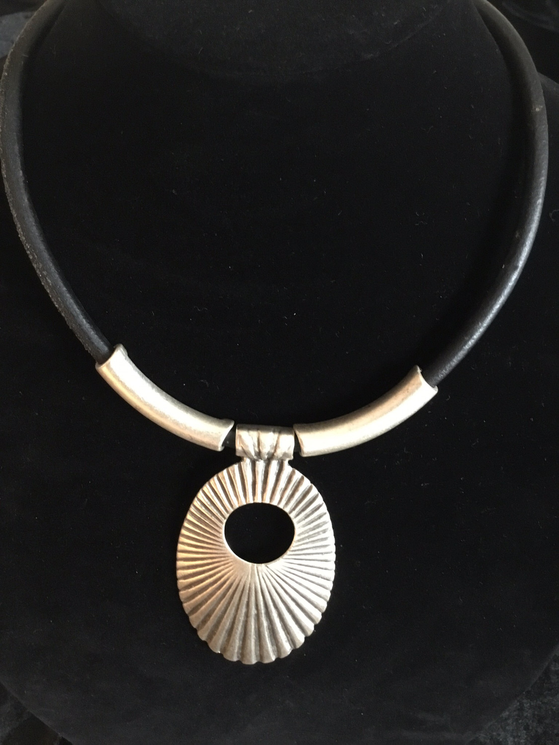 Pewter And Black Leather Short Necklace With Oval Designer Pendant