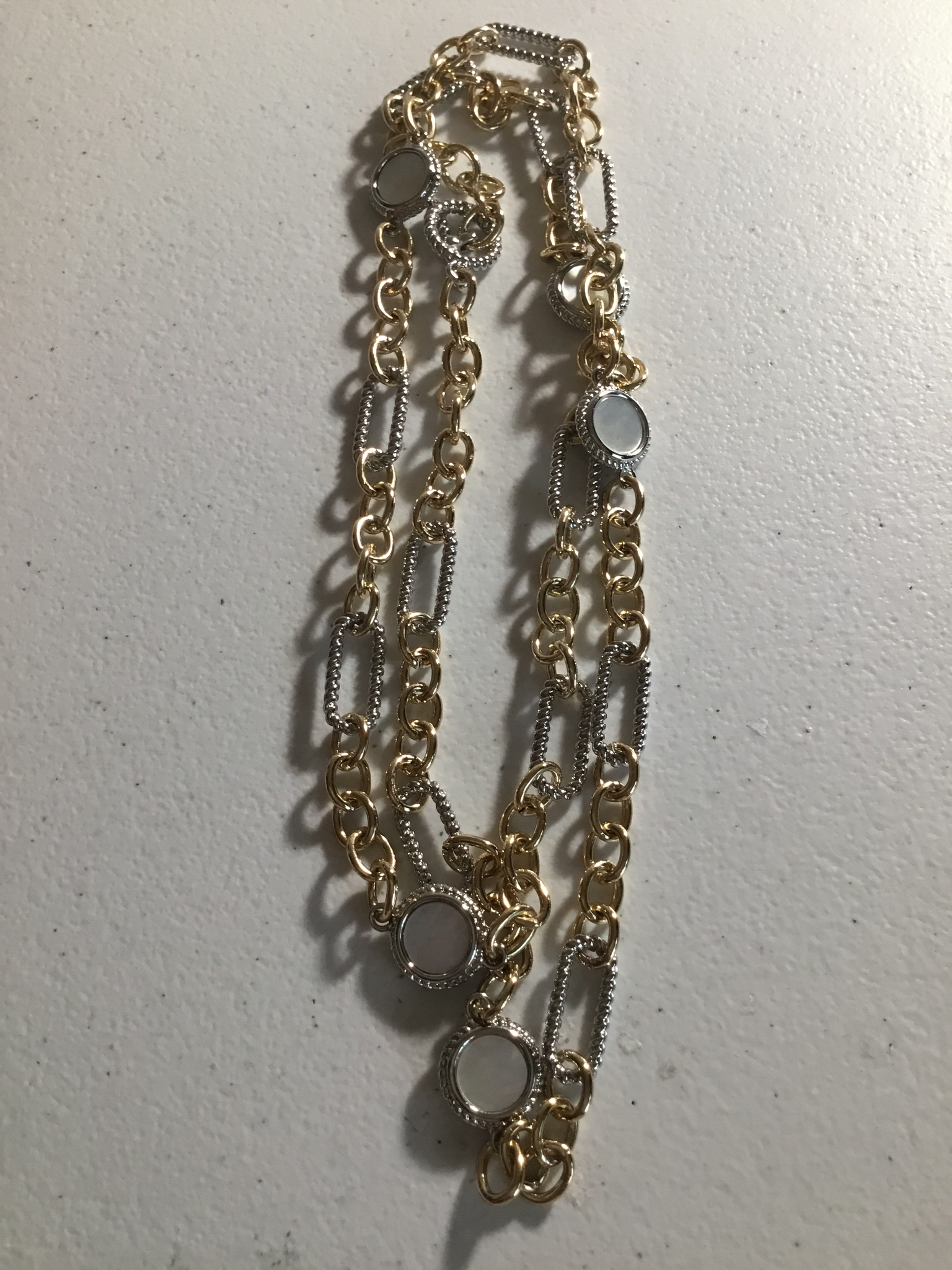 GOld And Silver Long Necklace with Mother of Pearl TO328KXM-36