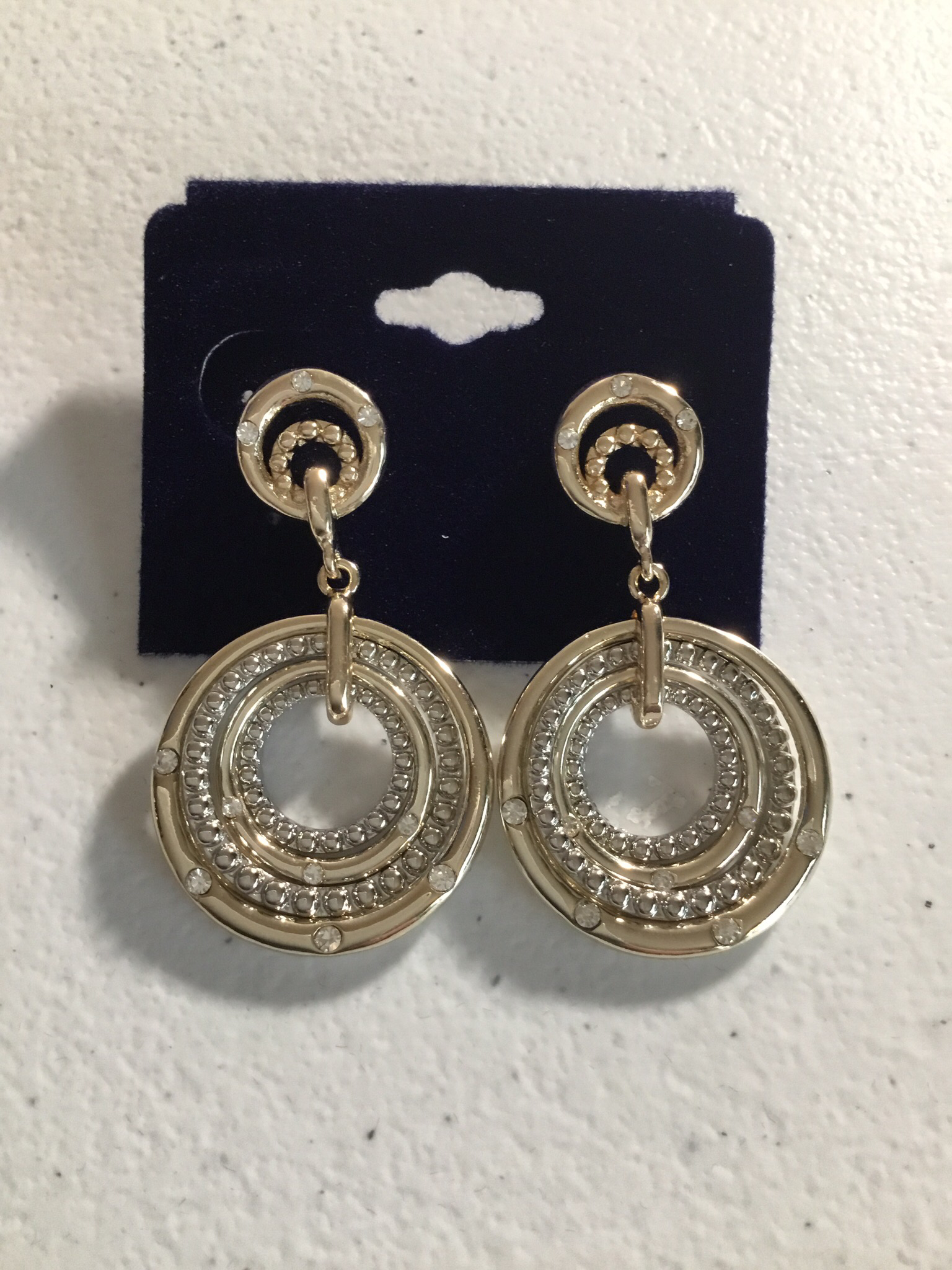 Gold and Silver Four Circle Earrings  T0424EK
