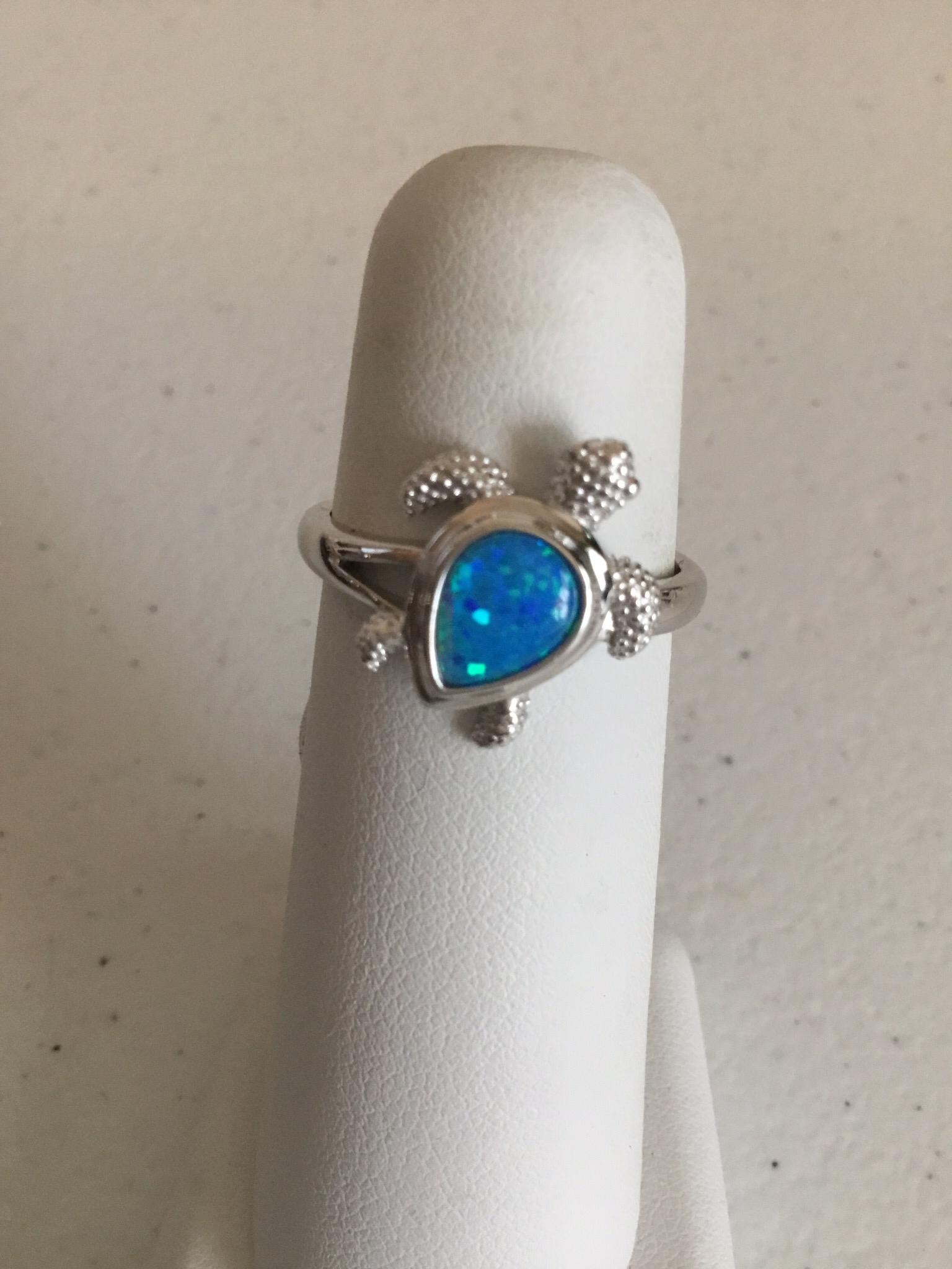 Sterling Silver Blue Opal Sea Turtle Ring SSR-OBT02
