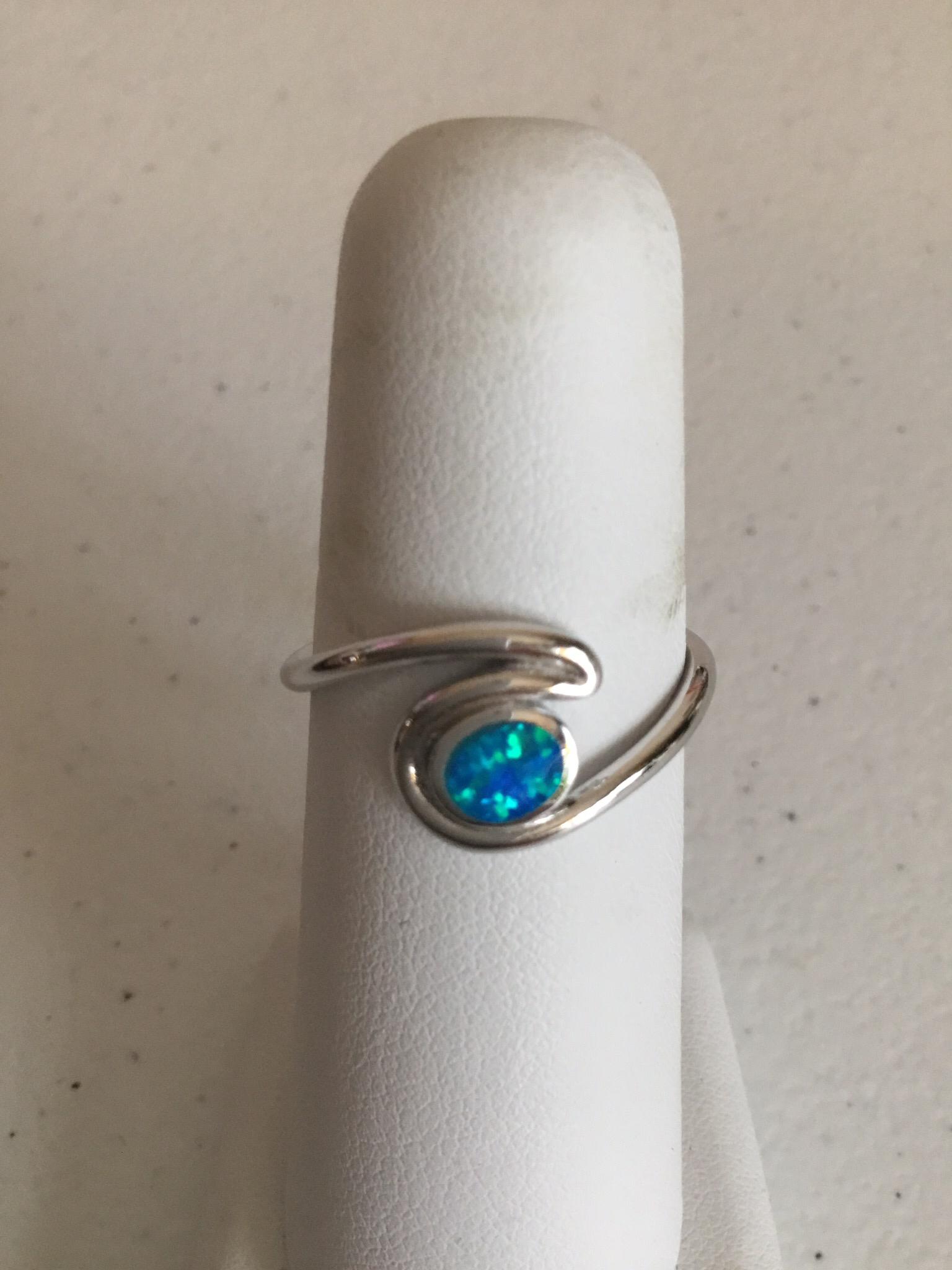 Sterling Silver Blue Opal Wave Ring SSR-OBWV05