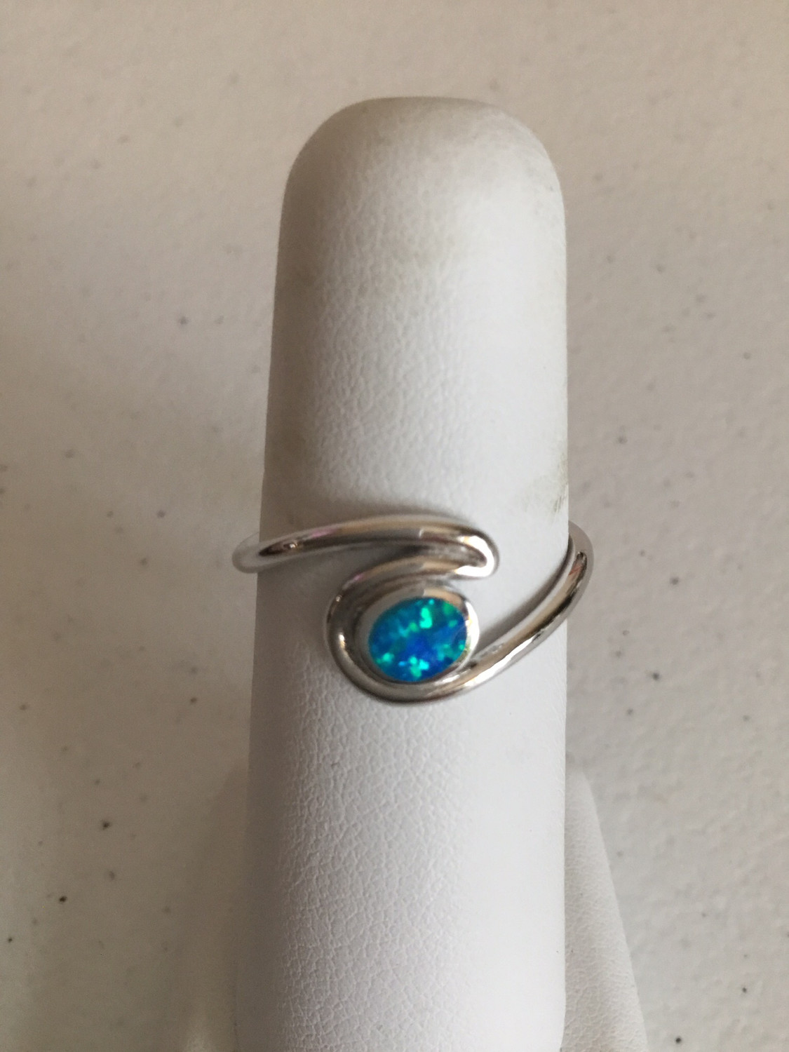 Sterling Silver Blue Opal Wave Ring