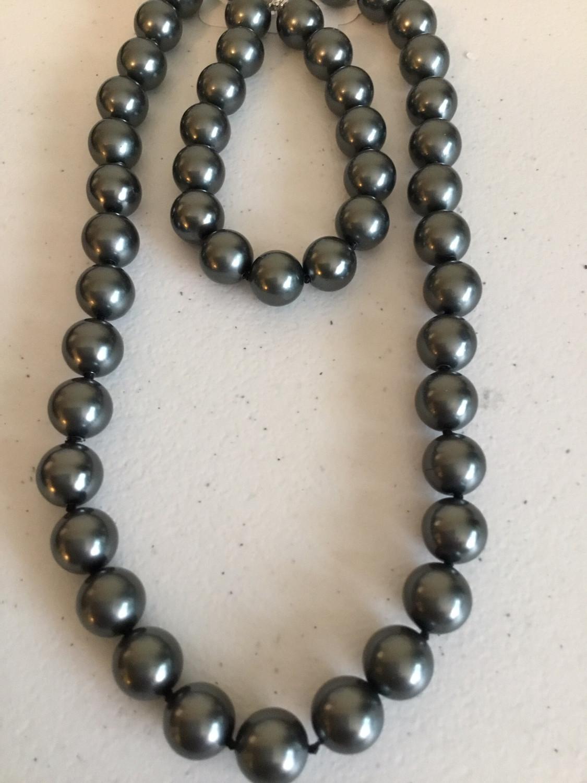 Black Pearl Bracelet And Necklace Set