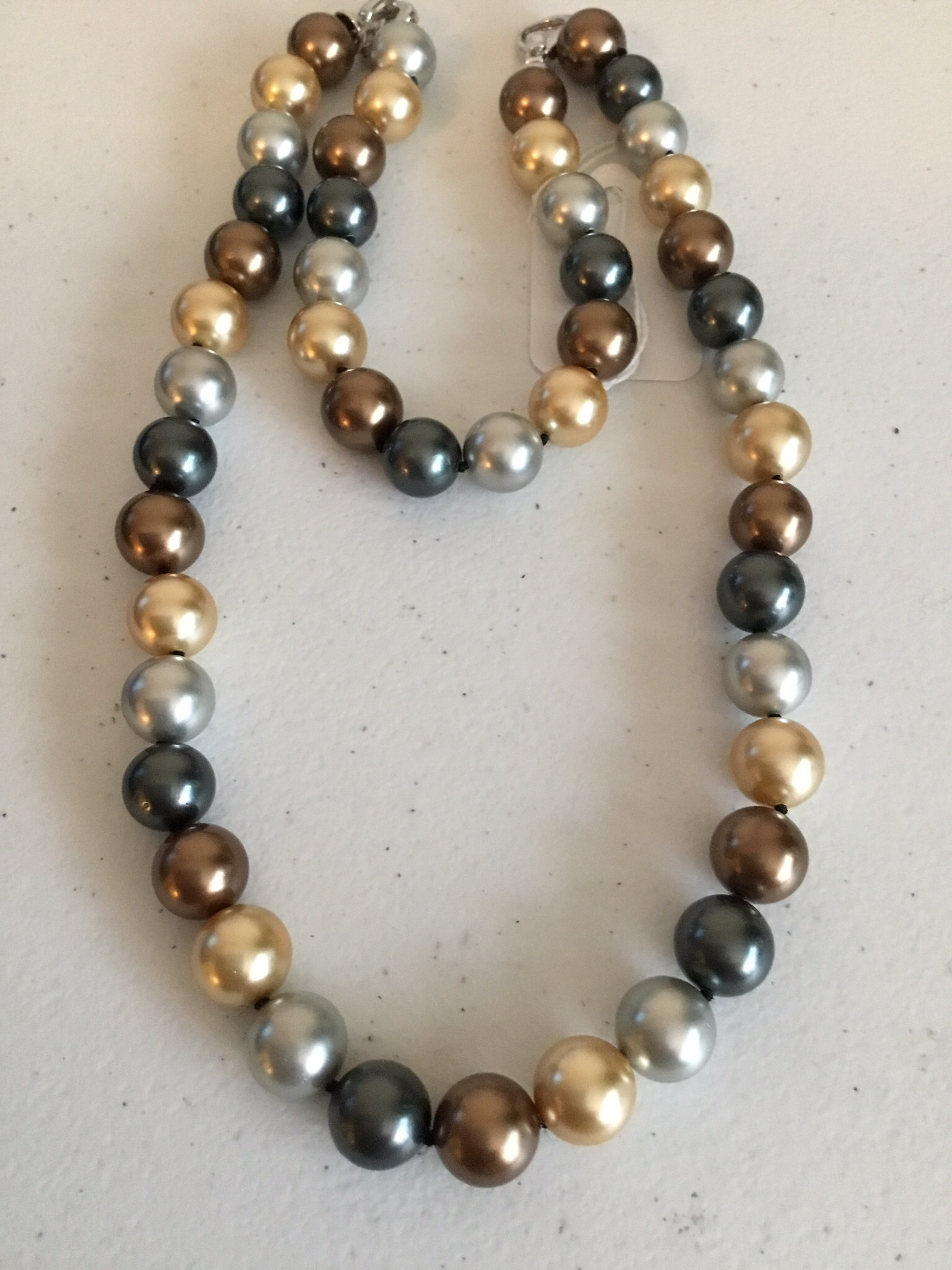 Gold Multi-Color Pearl Bracelet And Necklace Set   MOPN-12-H-GBCY