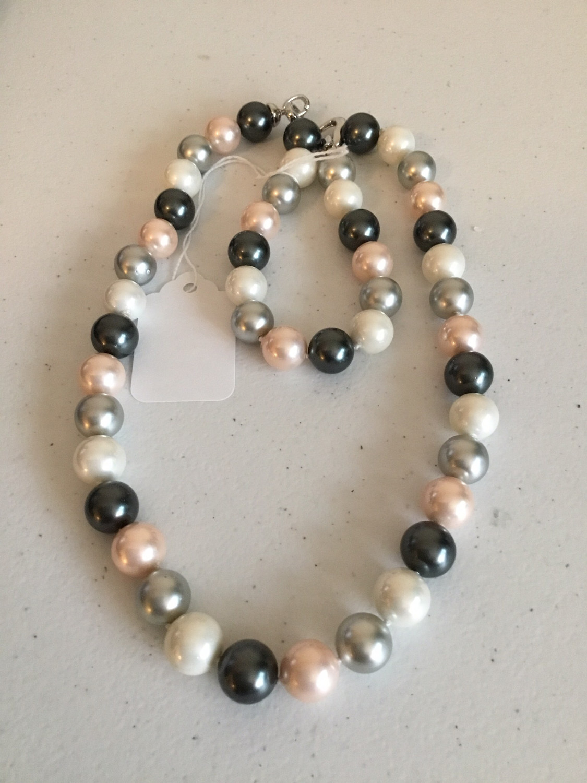 White Pink Gray Multi-Color Bracelet And Necklace Set