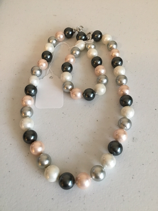 White Pink Gray Multi-Color Bracelet And Necklace Set