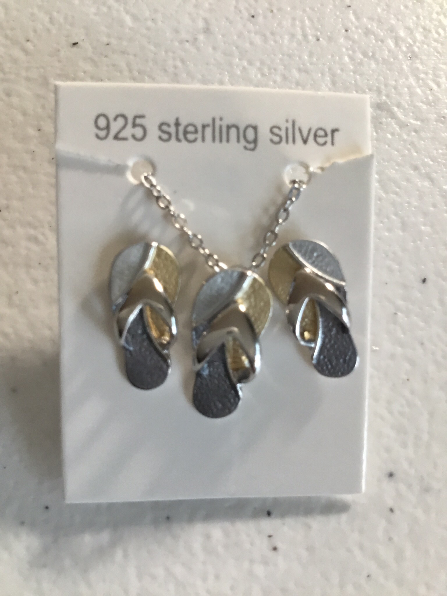 Tri-Color Sterling Silver Flip Flop Necklace And Earring Set  SSN-S11