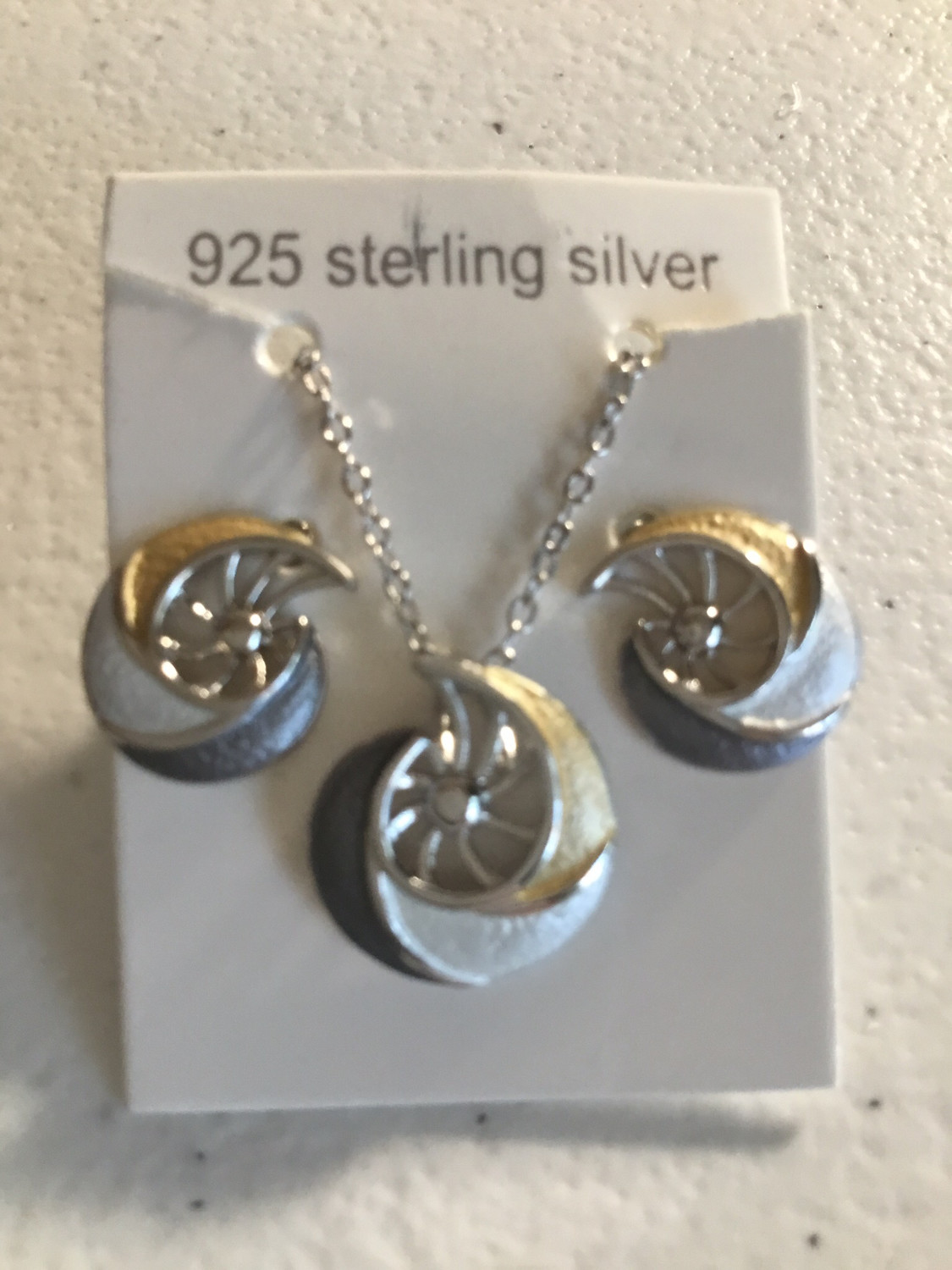 Tri-Color Sterling Silver Nautilus Necklace And Earring Set