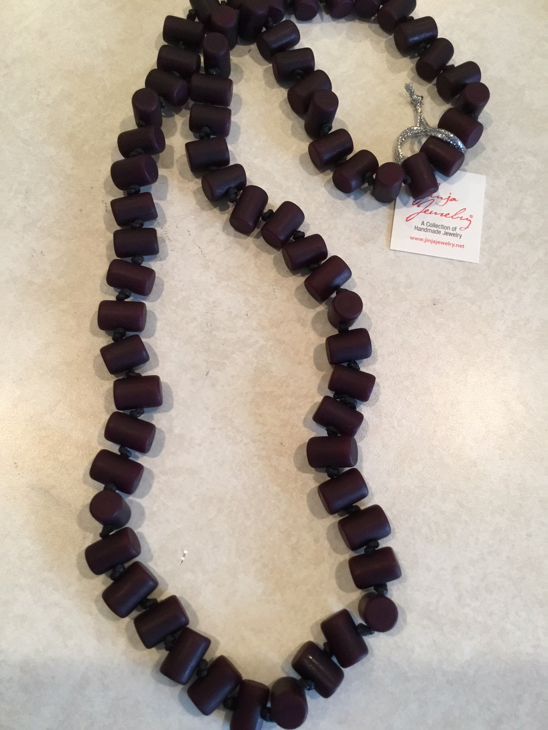 Bamboo Look Handmade Beads Knotted Necklace