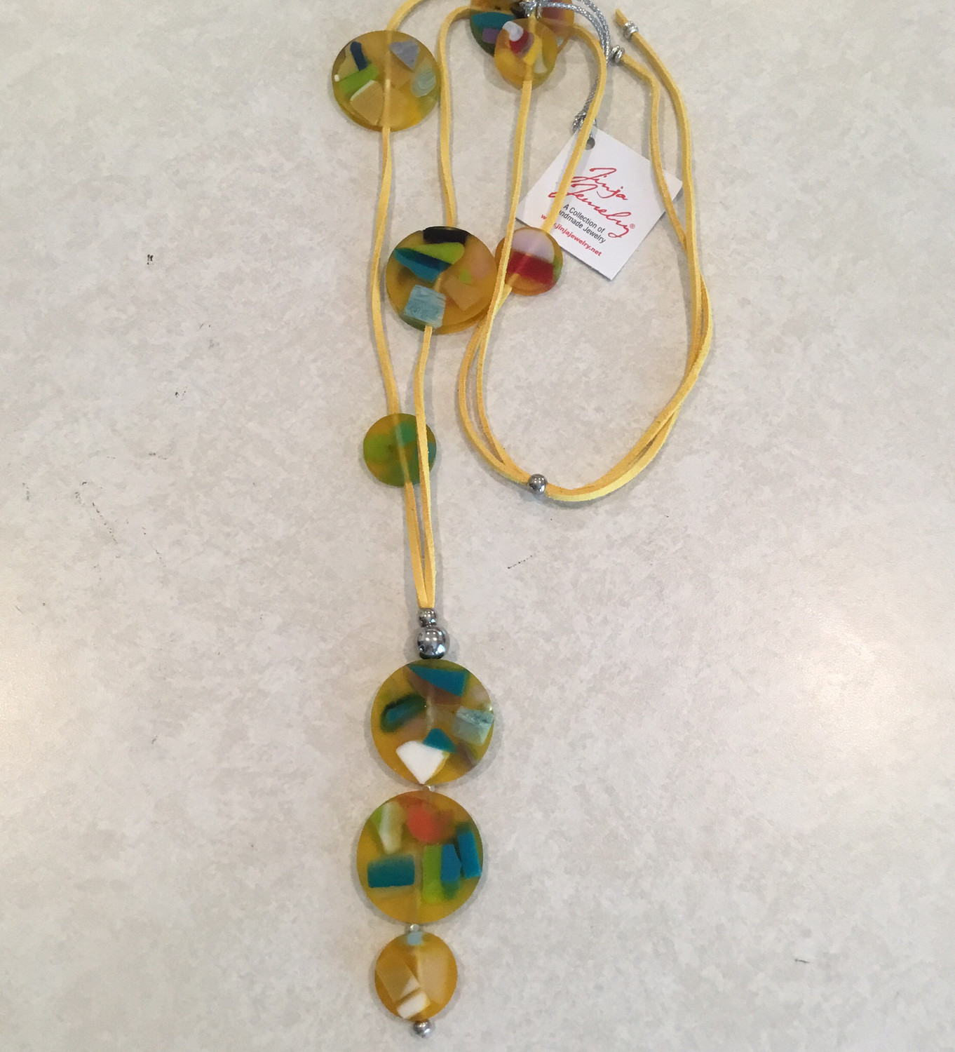 Long Adjustable Leather Necklace With Beautiful Summer Fun Beads