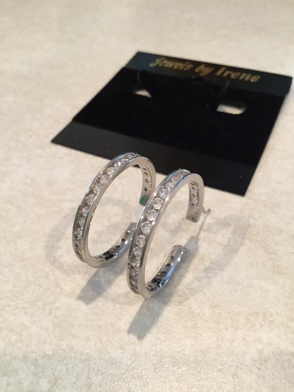 Channel Set Handmade Sterling Silver Hoop Earrings