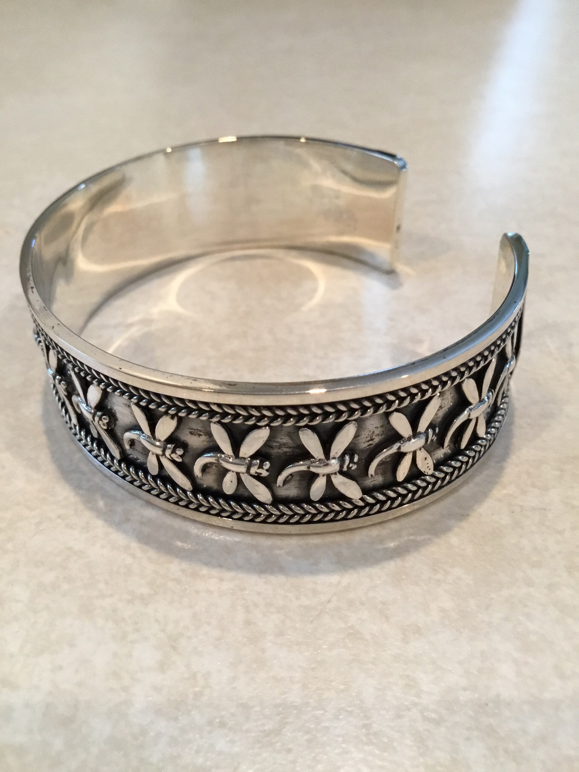 Beautiful Sterling Silver Cuff Designed With Dragonflies Circling