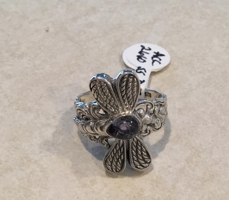 Dragonfly Sterling Silver Amethyst Ring