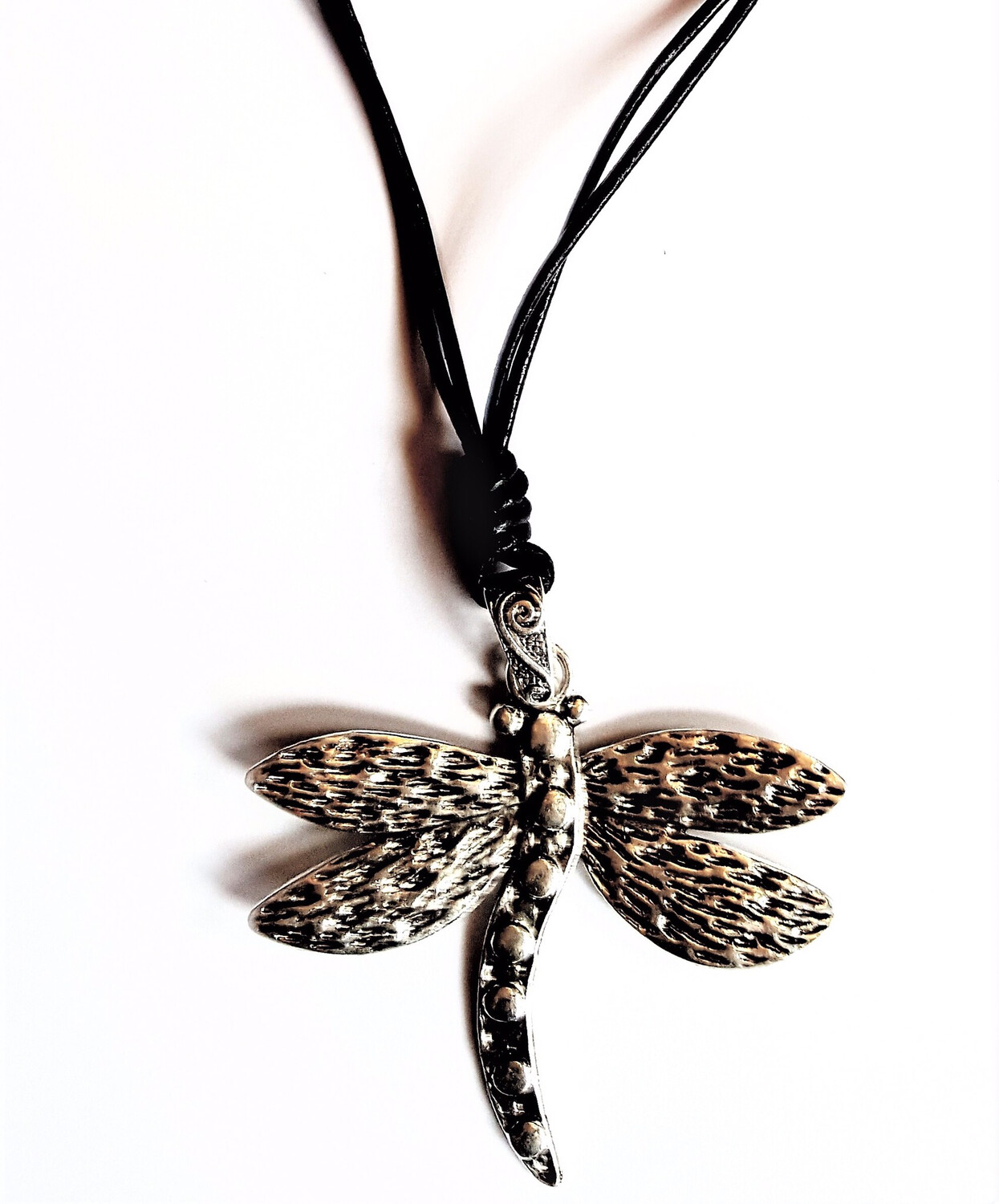 Dragonfly Short Necklace With Two Strands Leather