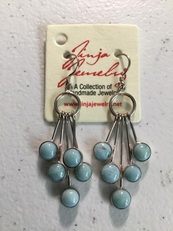 Larimar Sterling Silver Five Drop Earrings