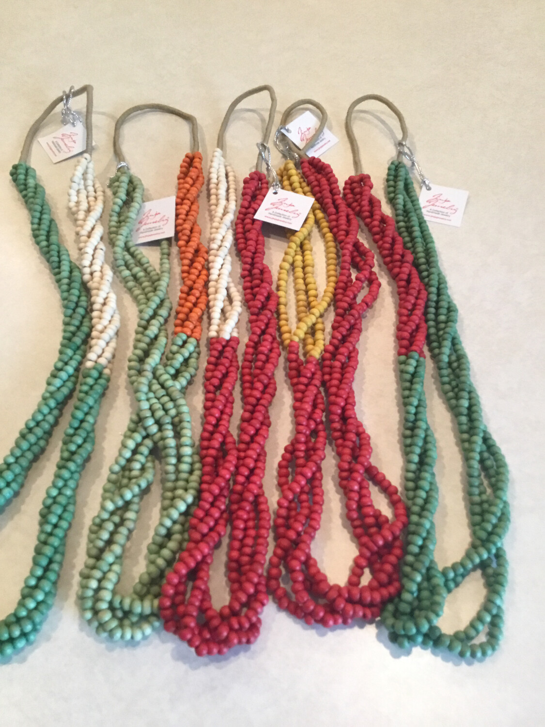 Wooden Handmade Four Strand Beautiful Color Necklace