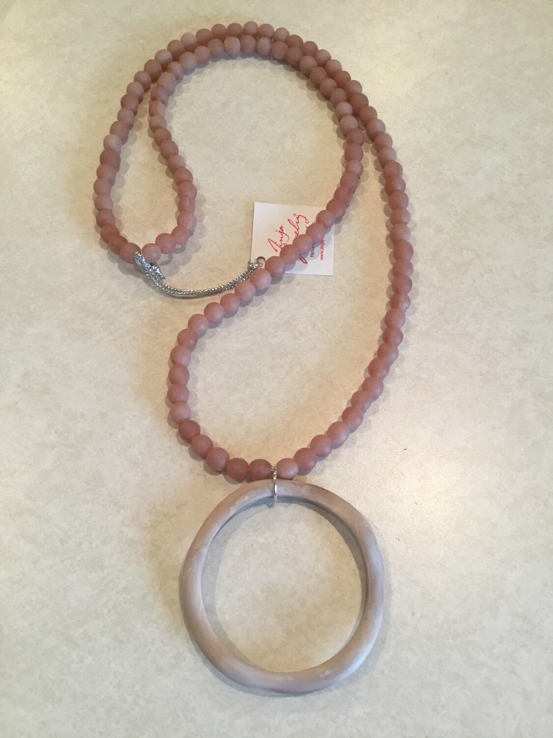 Long Handmade Beads Necklace With Large Abstract Circle Pendant