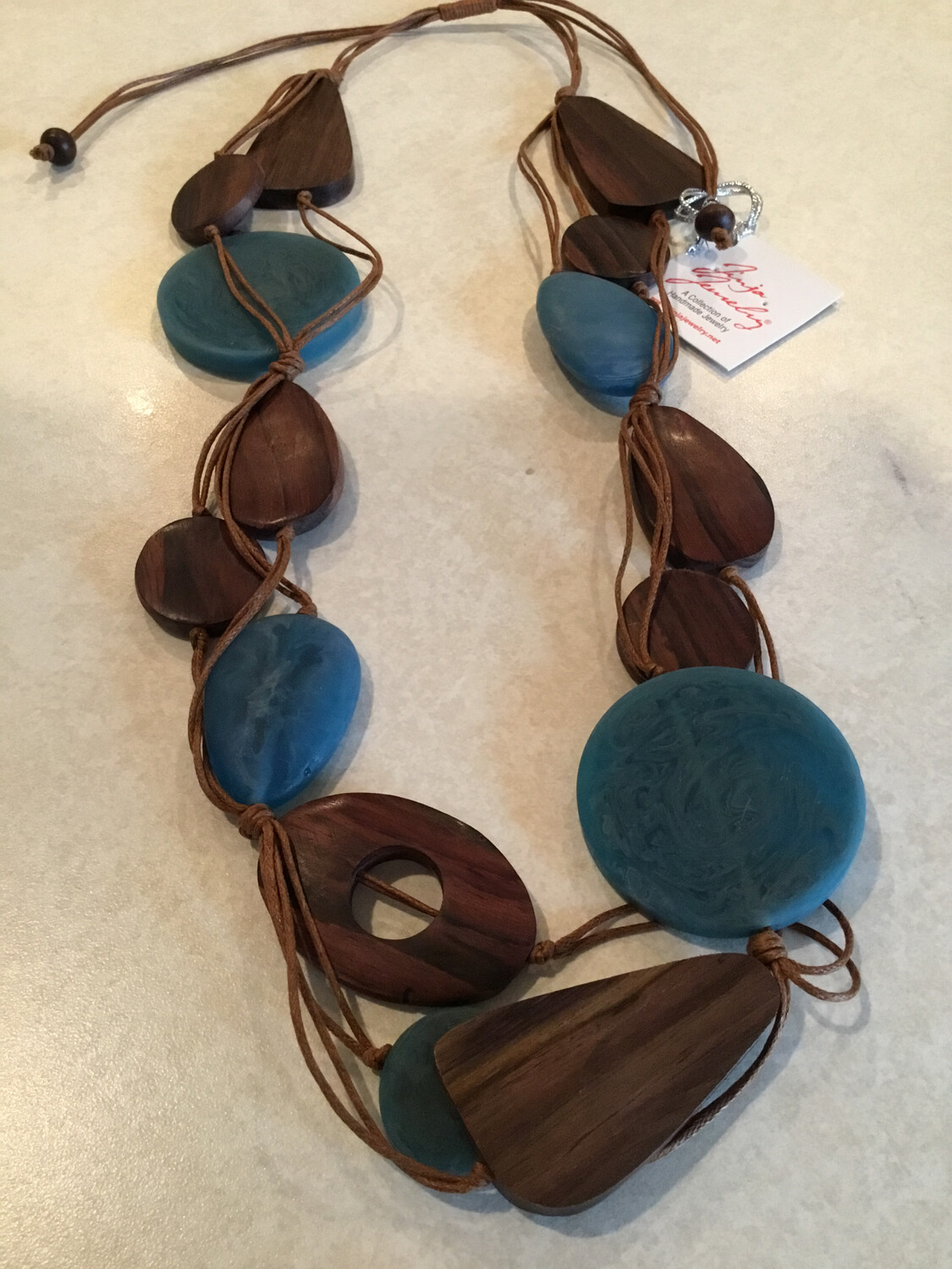 Handmade Short Adjustable Sono Wood And Bead Necklace
