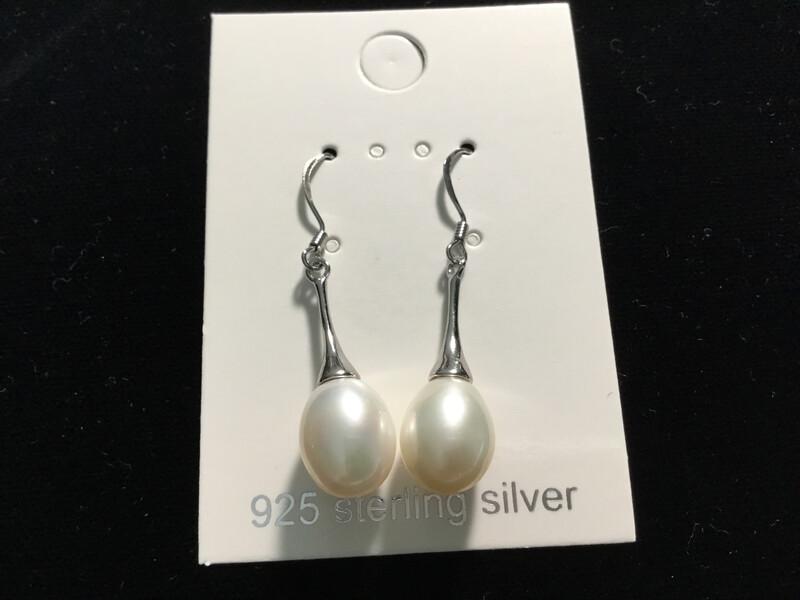 Sterling Silver Bell Dangle White Pearl Earrings