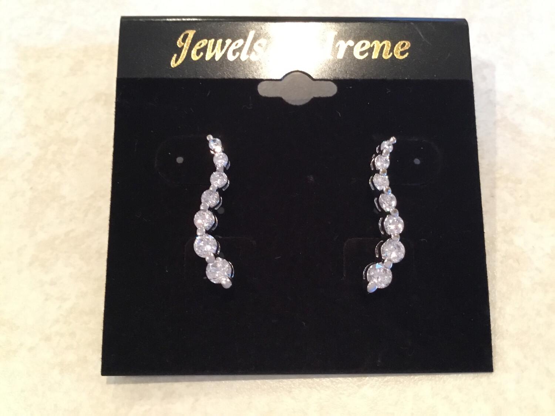 S Shape Crystal Post Earrings