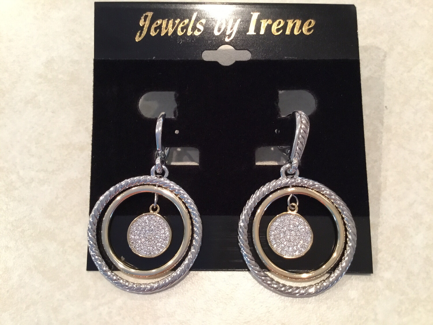 Gold Silver Double Circle With Pave Crystal Center