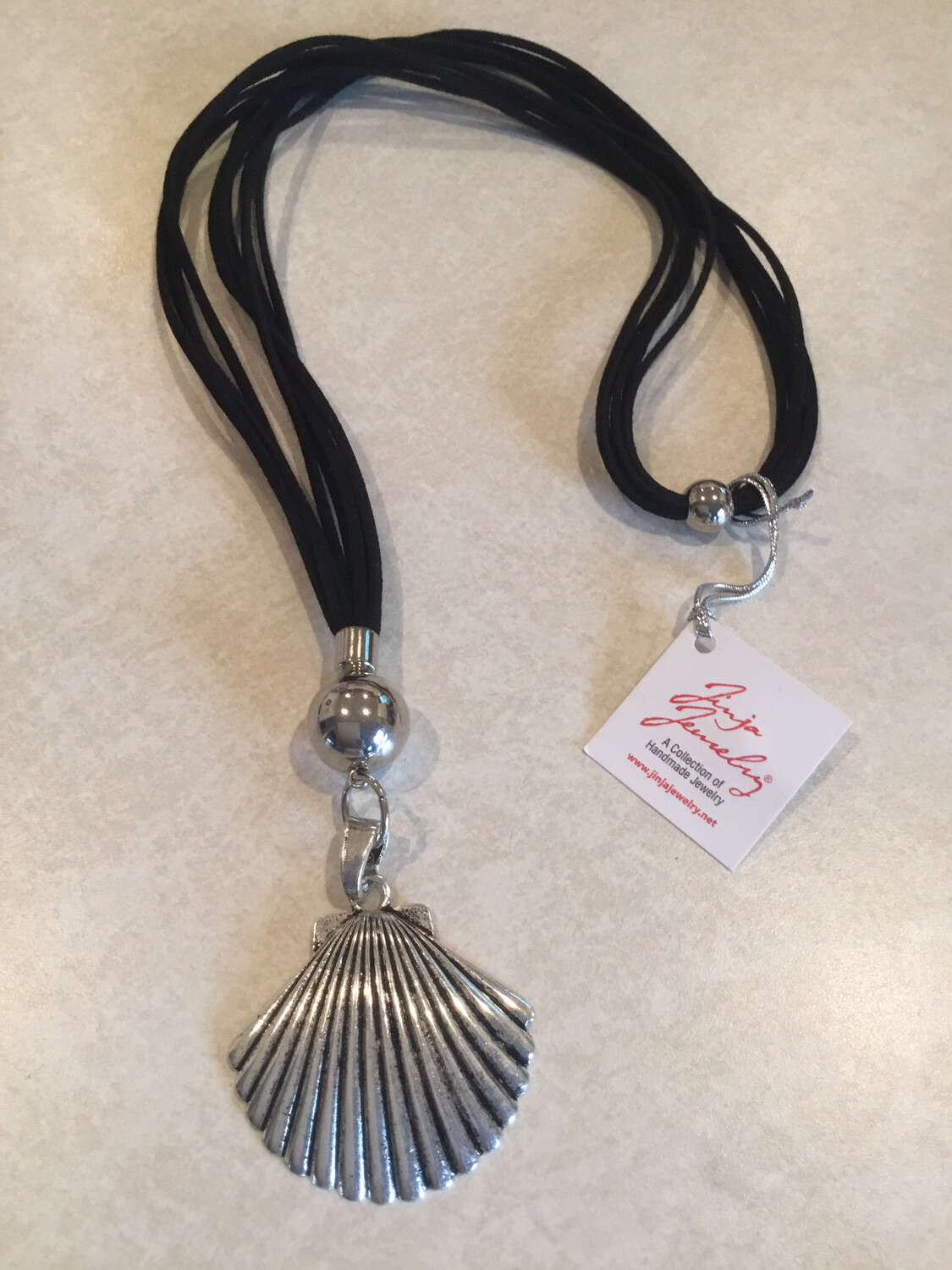 Long Five Strand Leather Necklace With Fan Shell