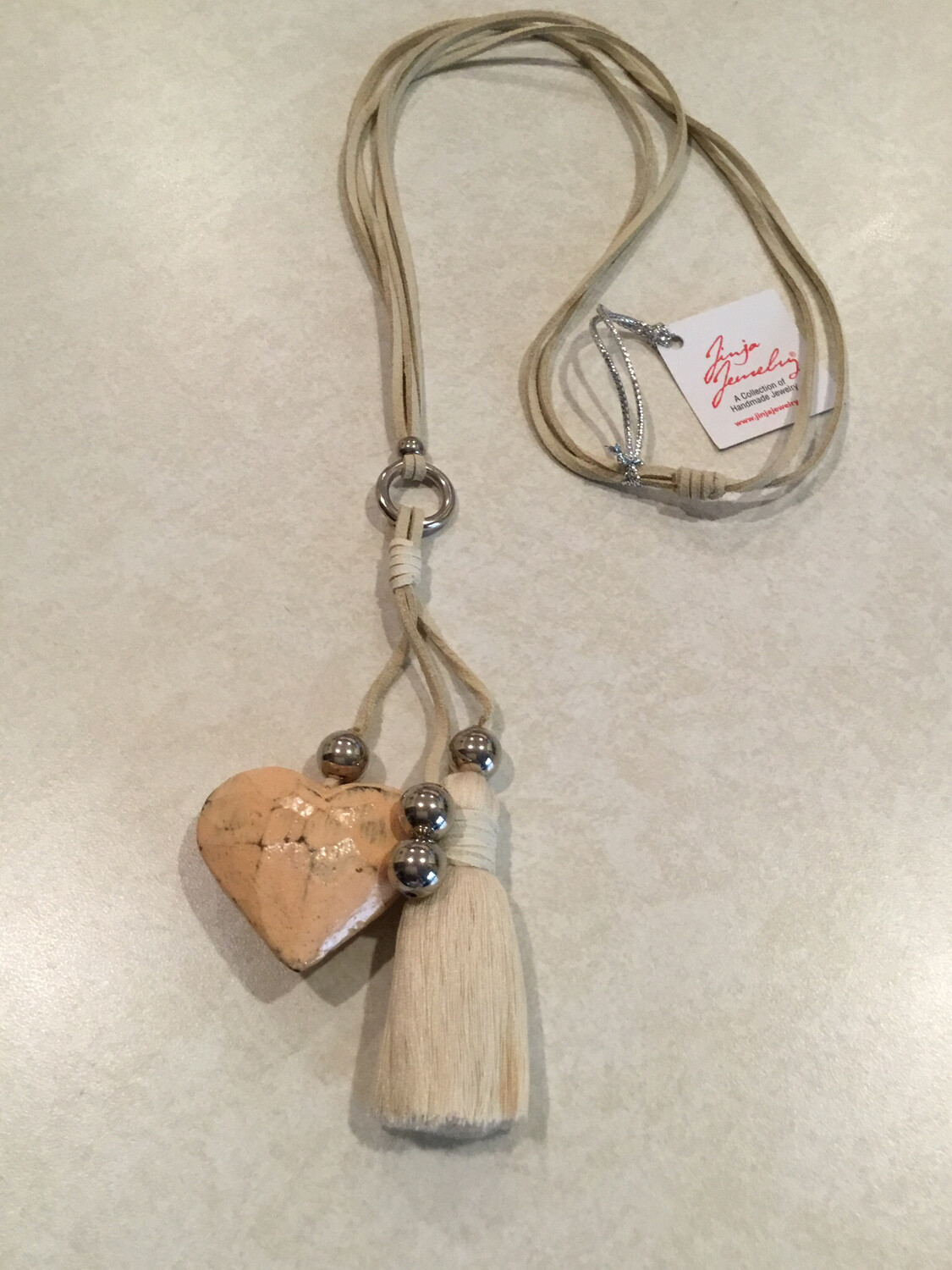 Boho Long Necklace With Beautiful Tassel And Small Wooden Heart.