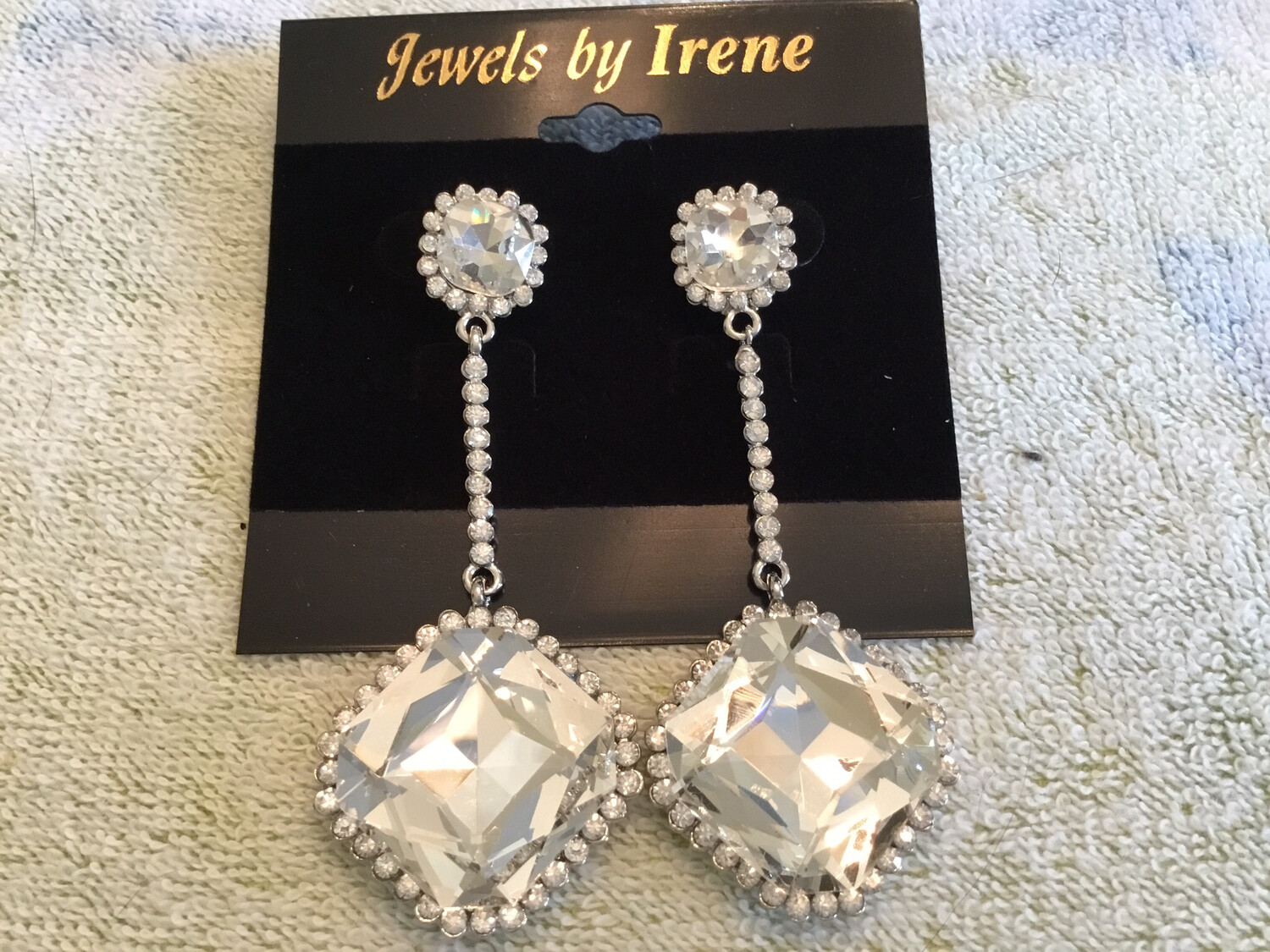 Large Square Crystal Drop With Round Crystal Post Earrings