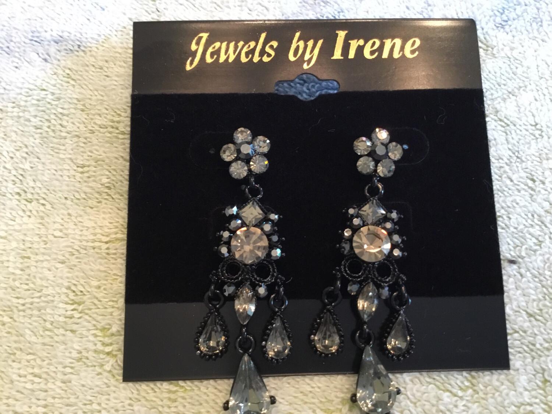 Antique Black Crystal Earrings