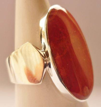 Red Coral Oval Sterling Silver Ring Lg R-09122-LG-Red coral