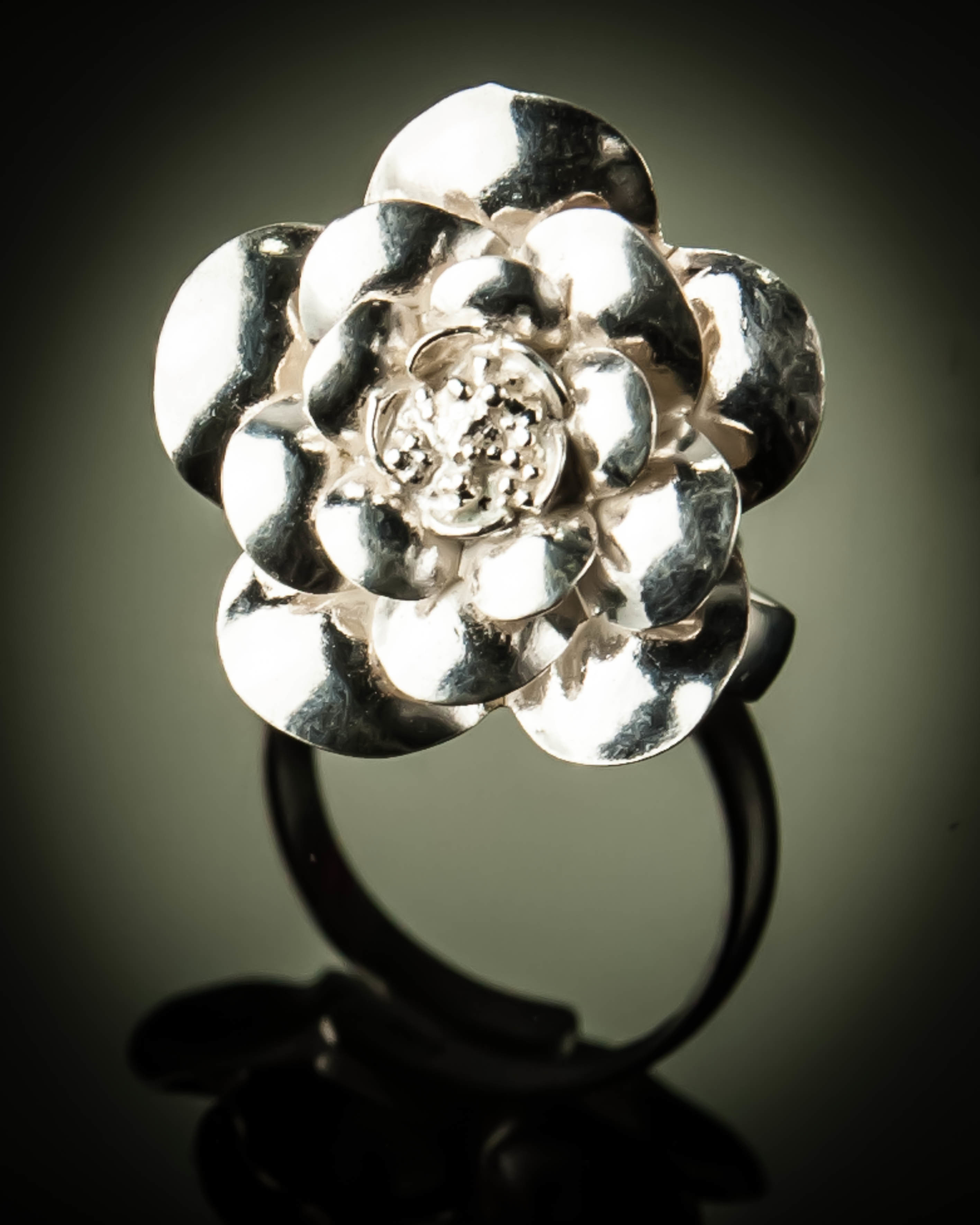 Sterling Silver Rose Flower Free Size Ring R-09088