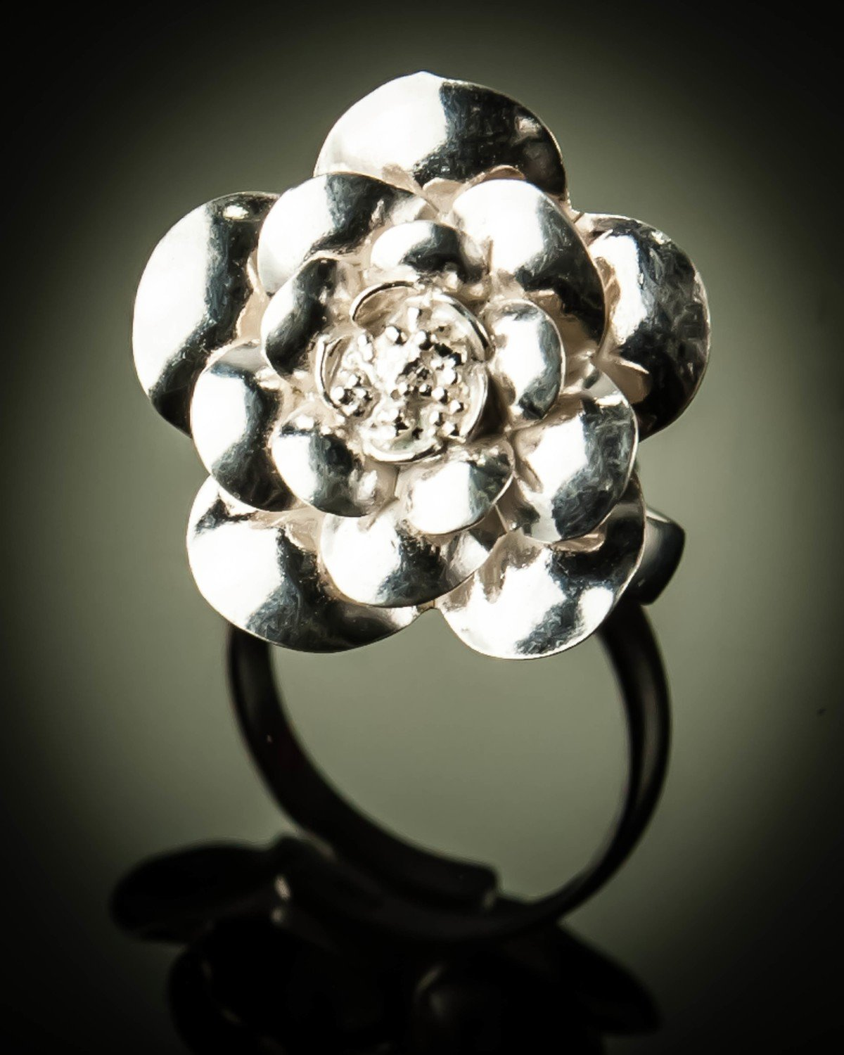 Sterling Silver Rose Flower Free Size Ring