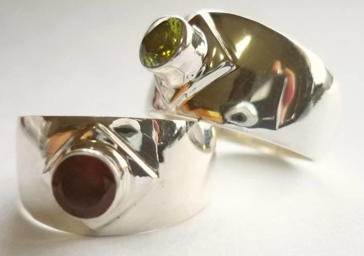 Sterling Silver Amethyst Wide Band Ring R-09063 Amethyst