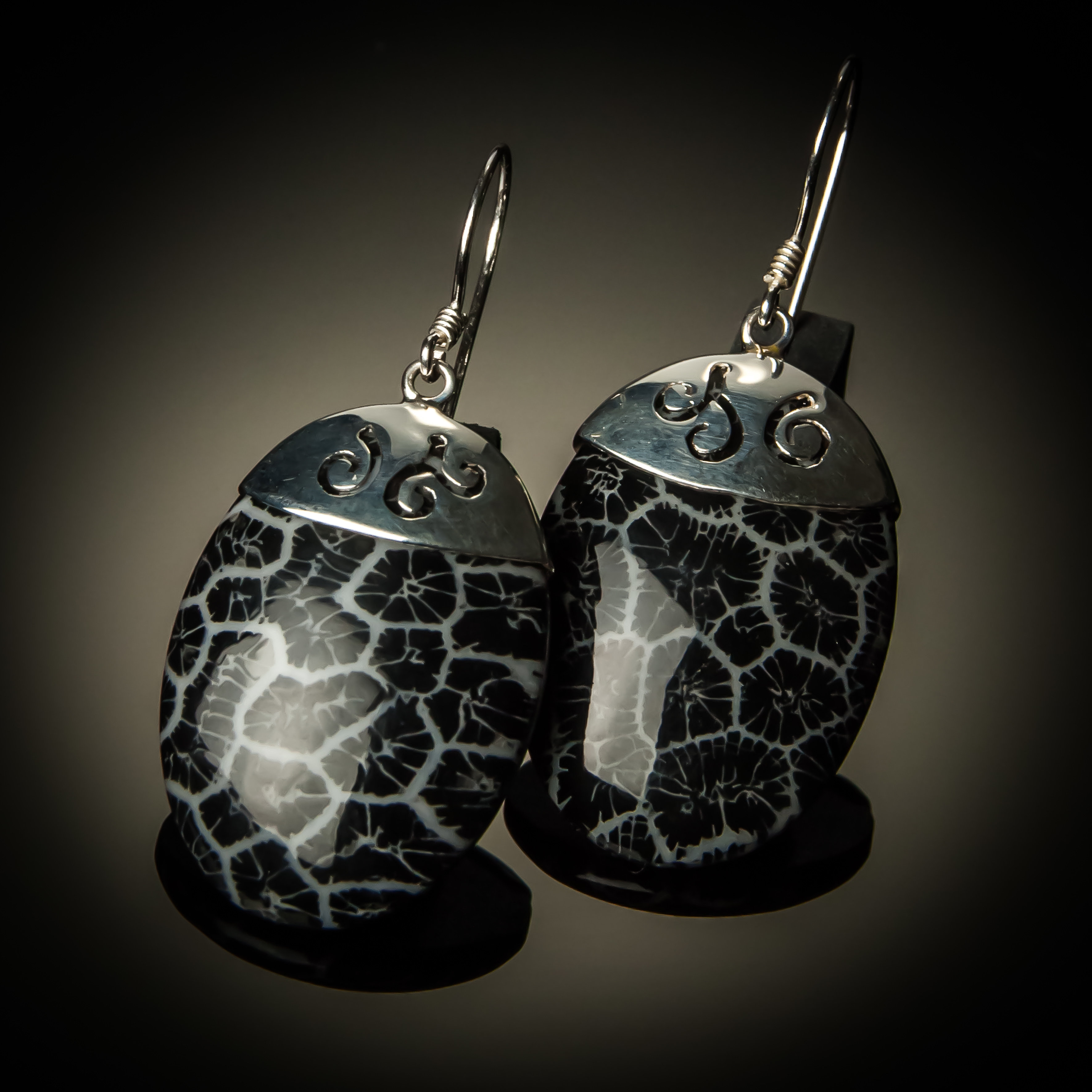Black Coral Oval Sterling Silver Earrings PKC-21-Black coral