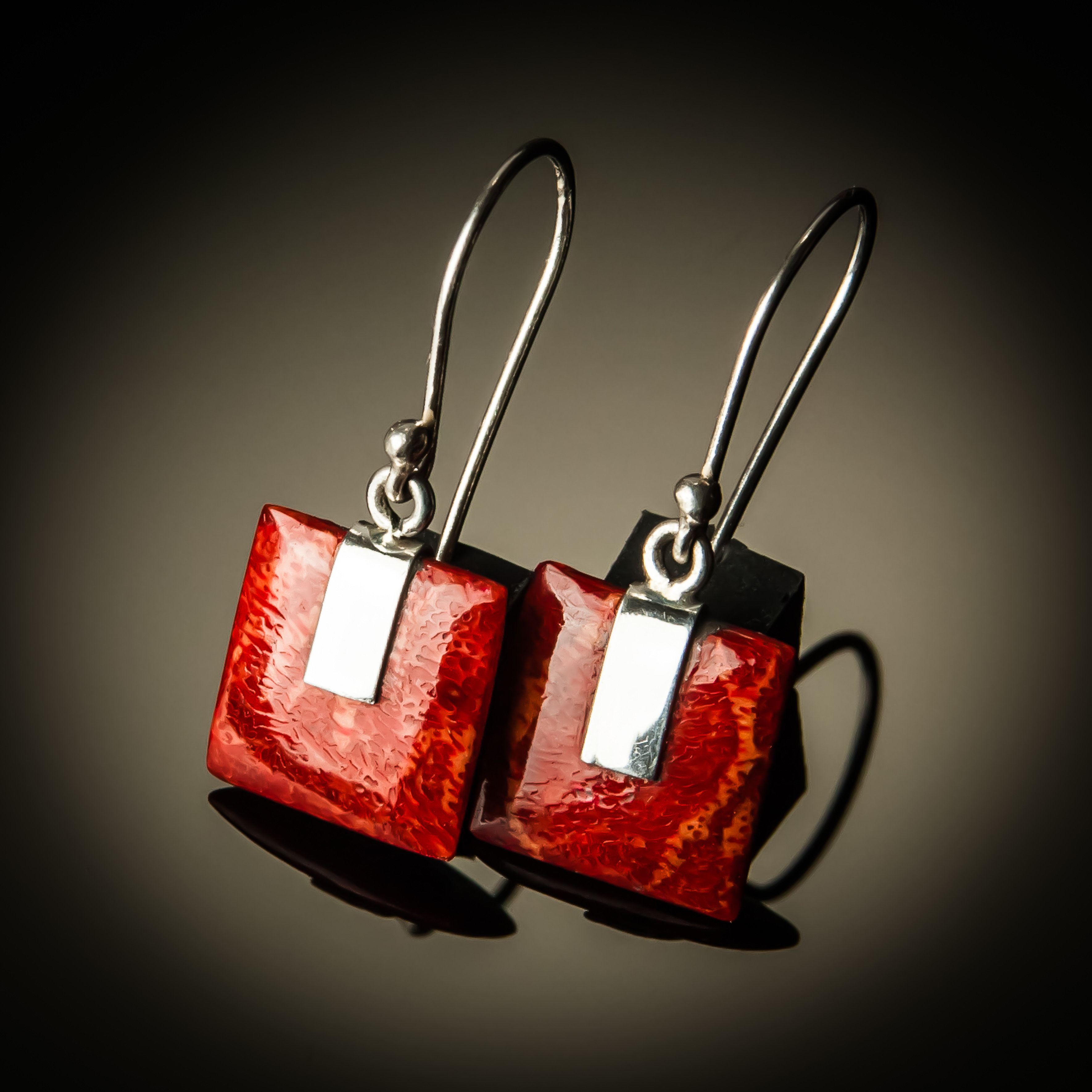 Red Coral Square Sterling Silver Earrings- Small PKC-07Sm-Red coral