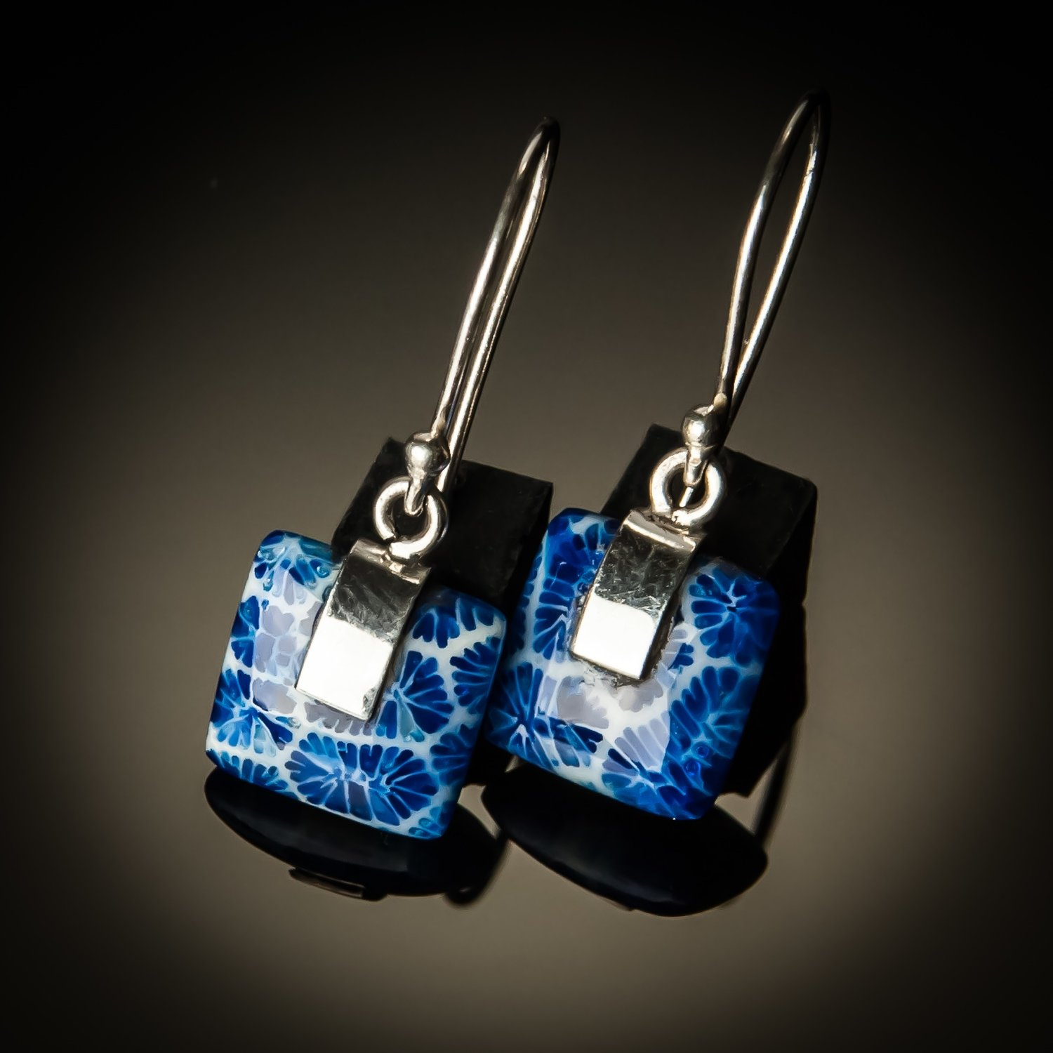 Blue Coral Square Sterling Silver Earrings- Small