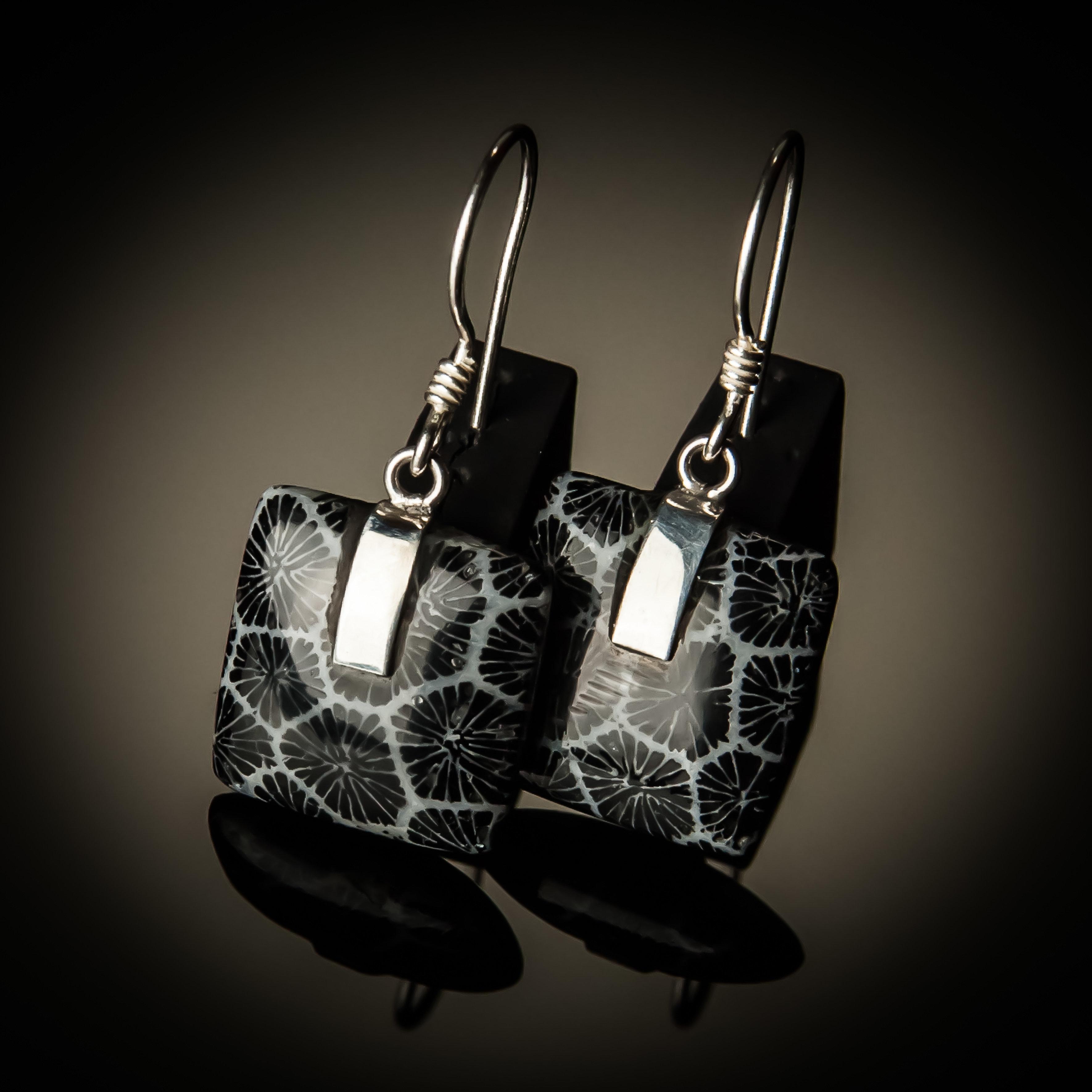 Black Coral Square Sterling Silver Earrings ER-PKC-07Lg-Black coral