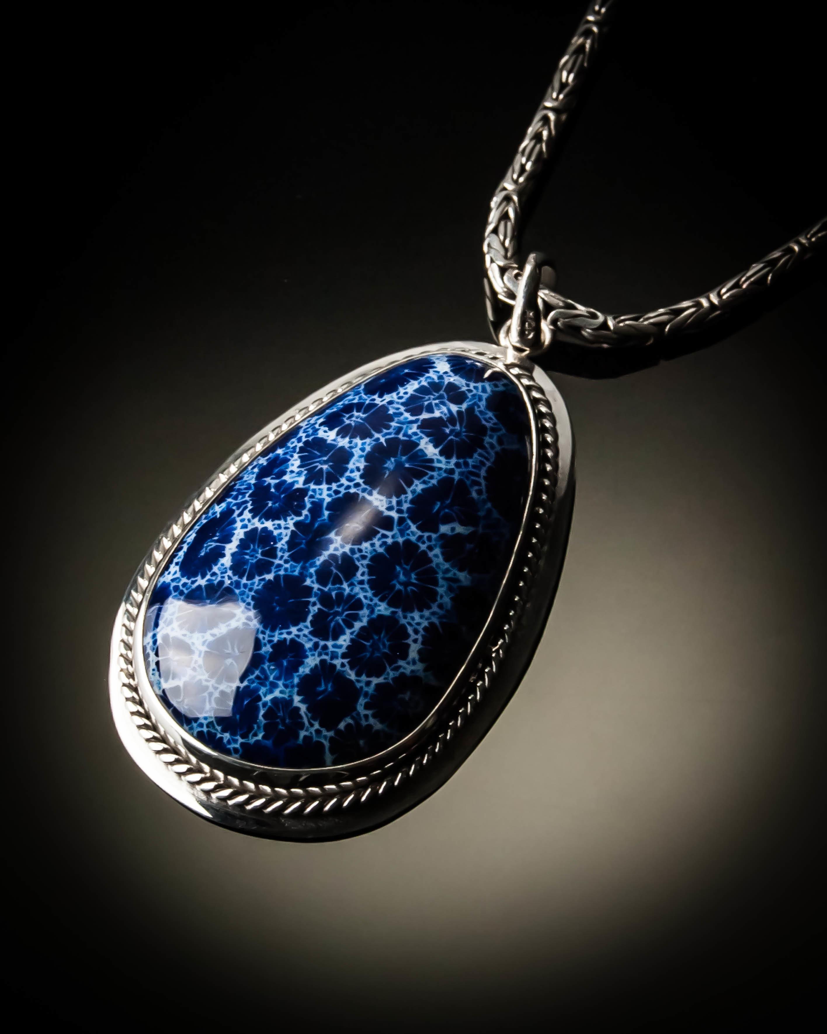 Sterling Silver Blue Coral Native Pendant P-09085