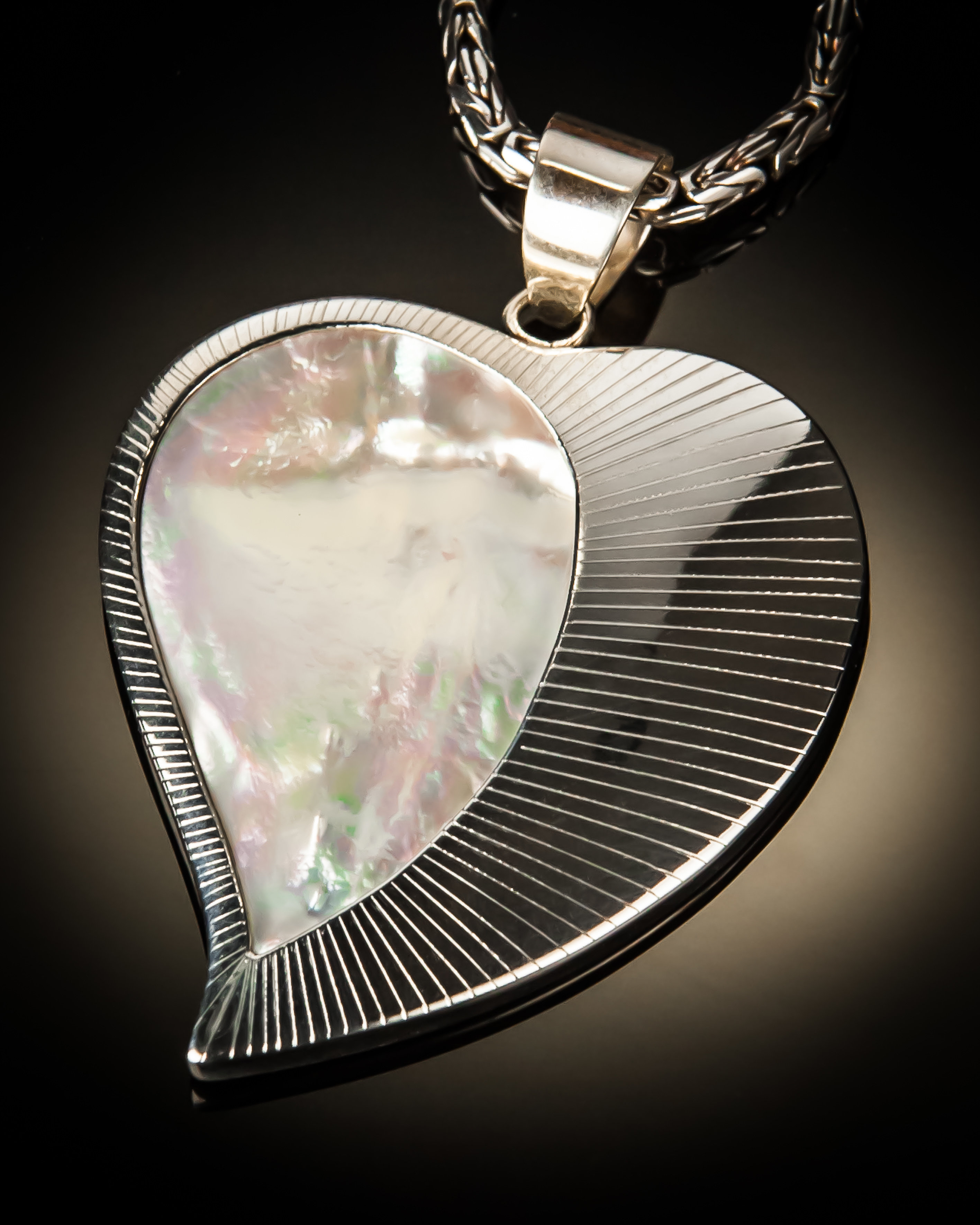 Mother of Pearl Heart with Sterling Silver Sunburst Pendant P-09068