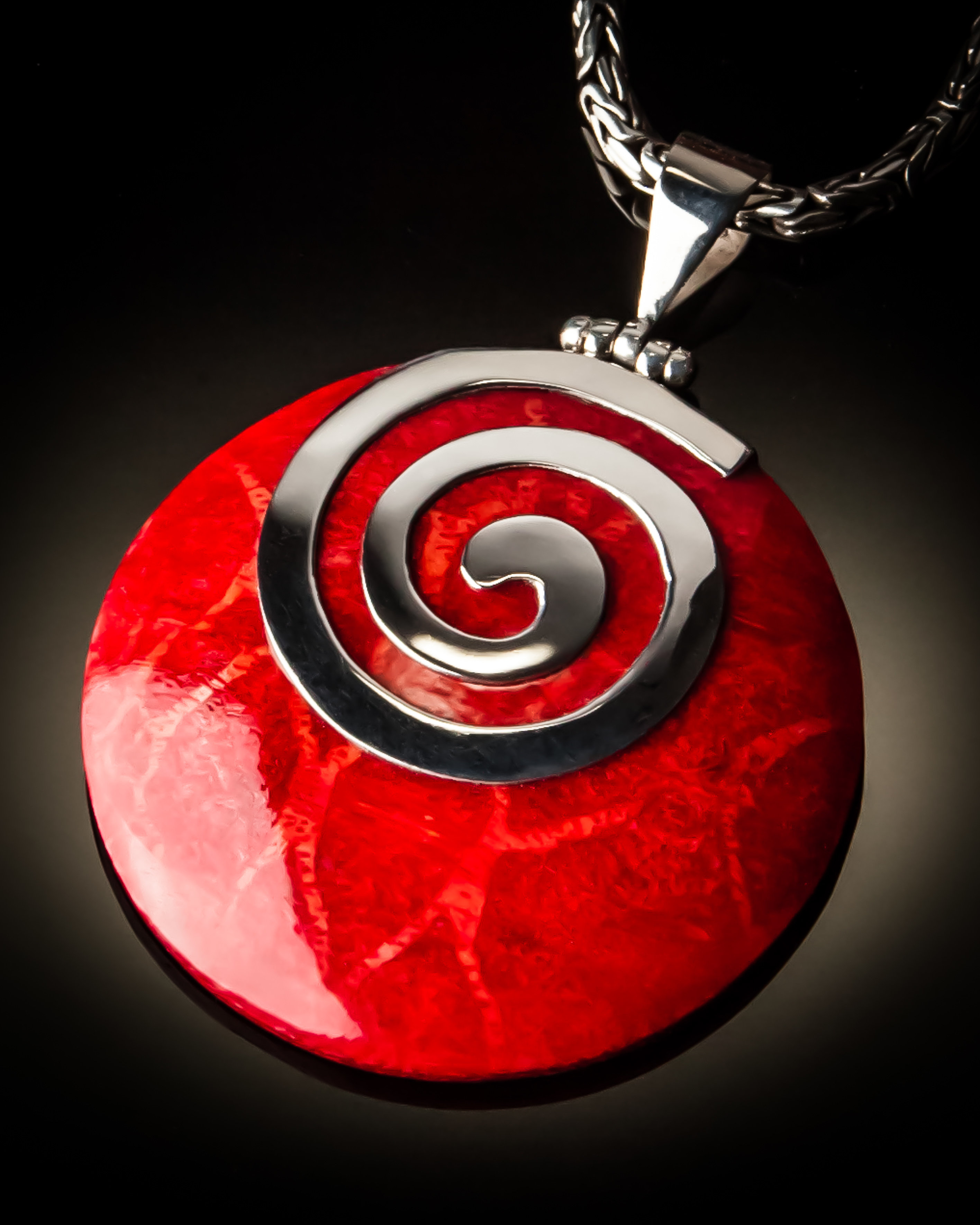 Red Coral Round Spiral Sterling Silver Pendant P-09064 Red coral