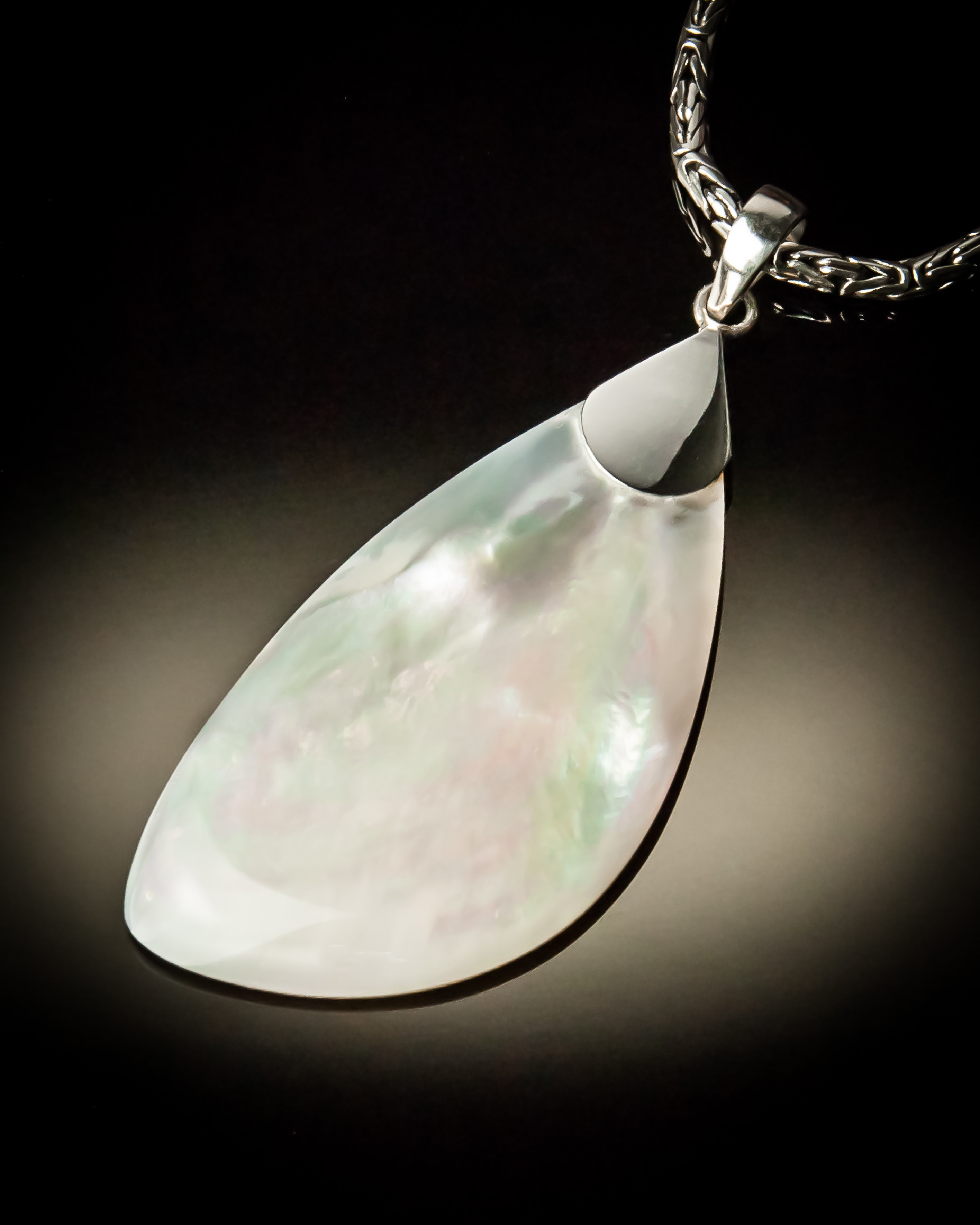 Mother of Pearl Angled Sterling Silver Pendant P-09058