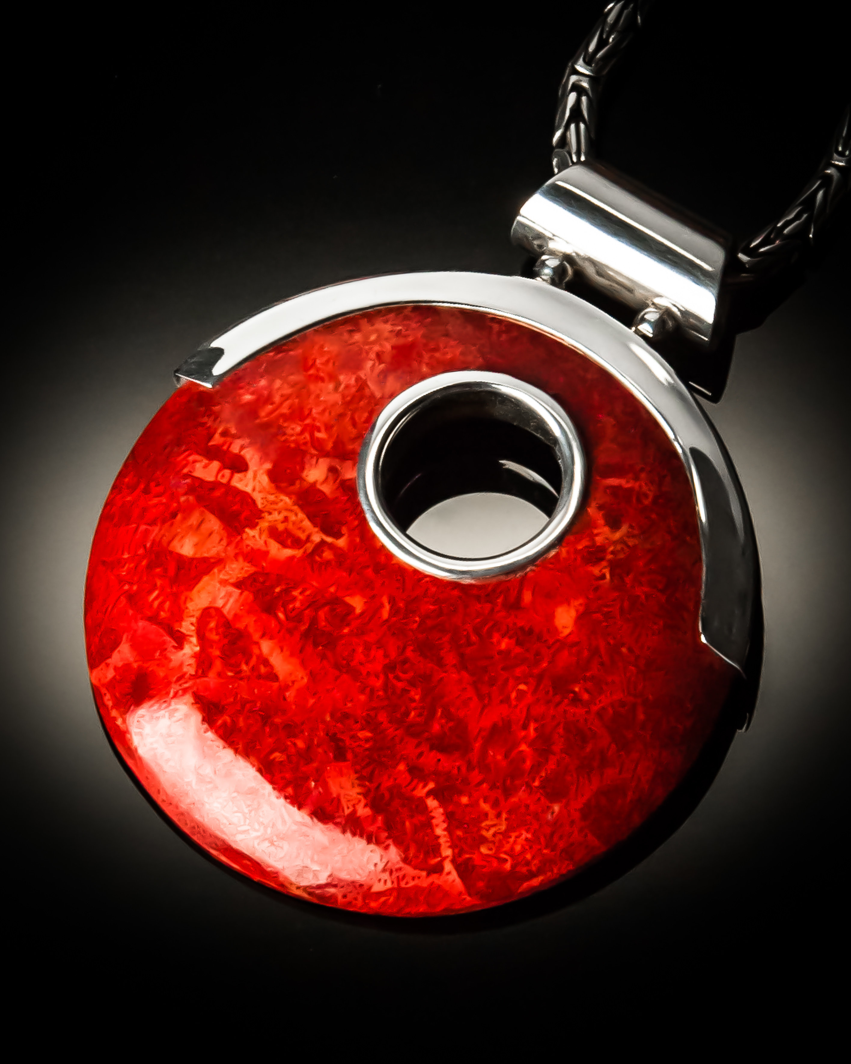 Red Coral Sterling Silver Open Design Pendant P-09029 Red