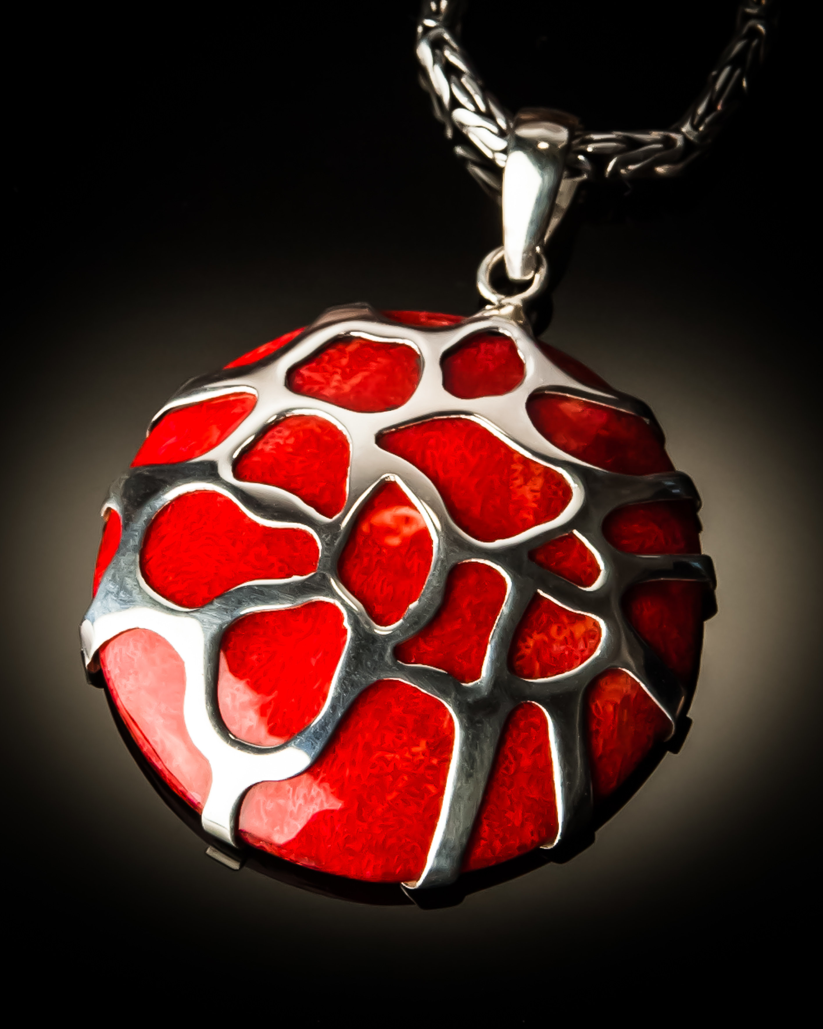 Red Coral Sterling Silver Cobweb Pendant P-08006 Red coral