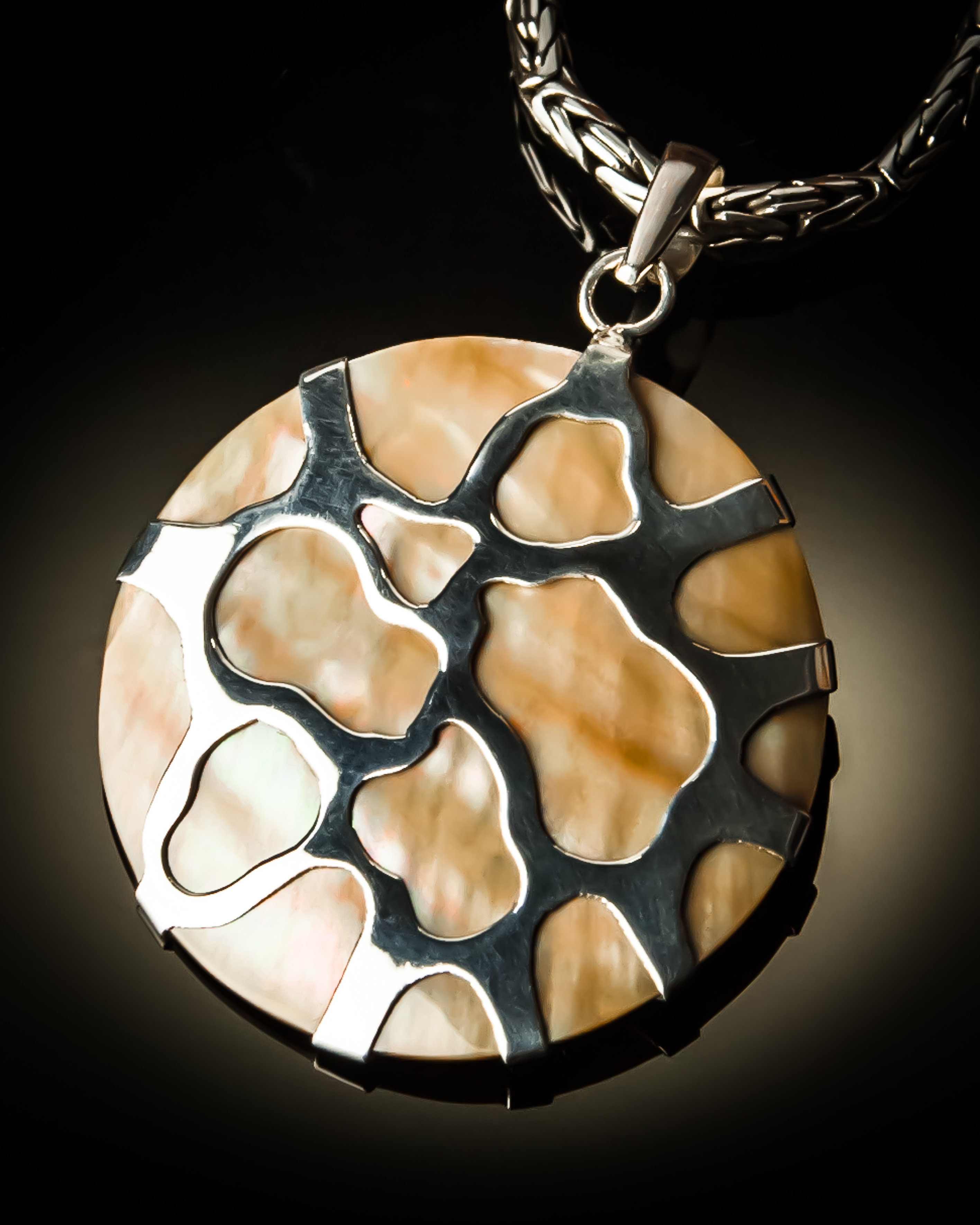 Brown Mother of Pearl Shell Sterling Silver Pendant P-08006 Brown Mother of Pearl