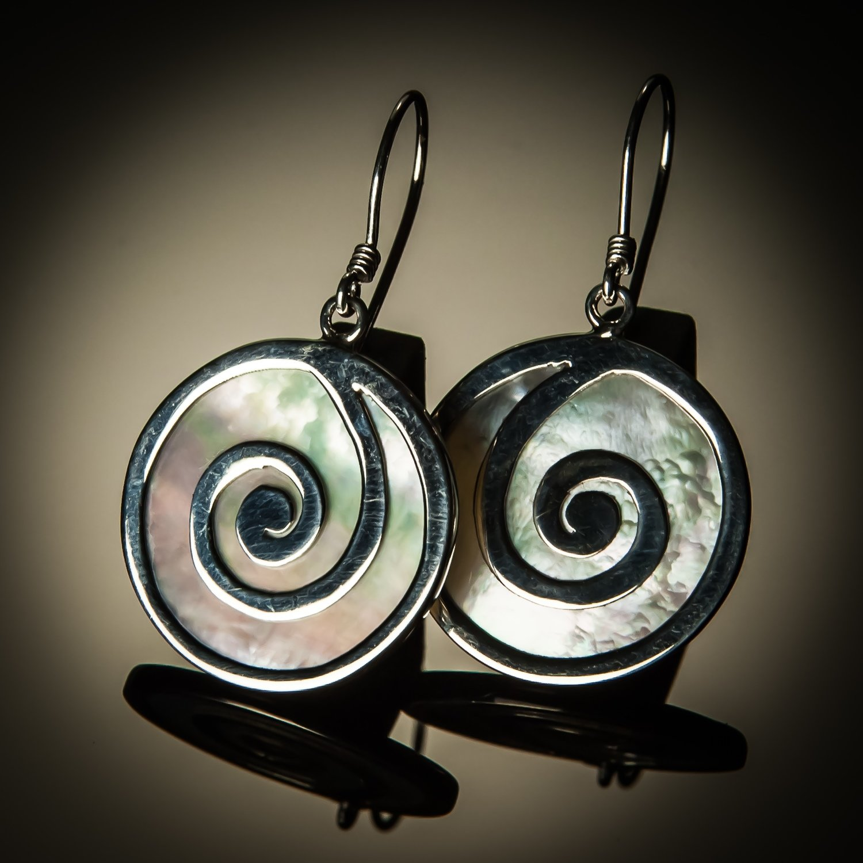 Mother of Pearl Full Swirl Earrings
