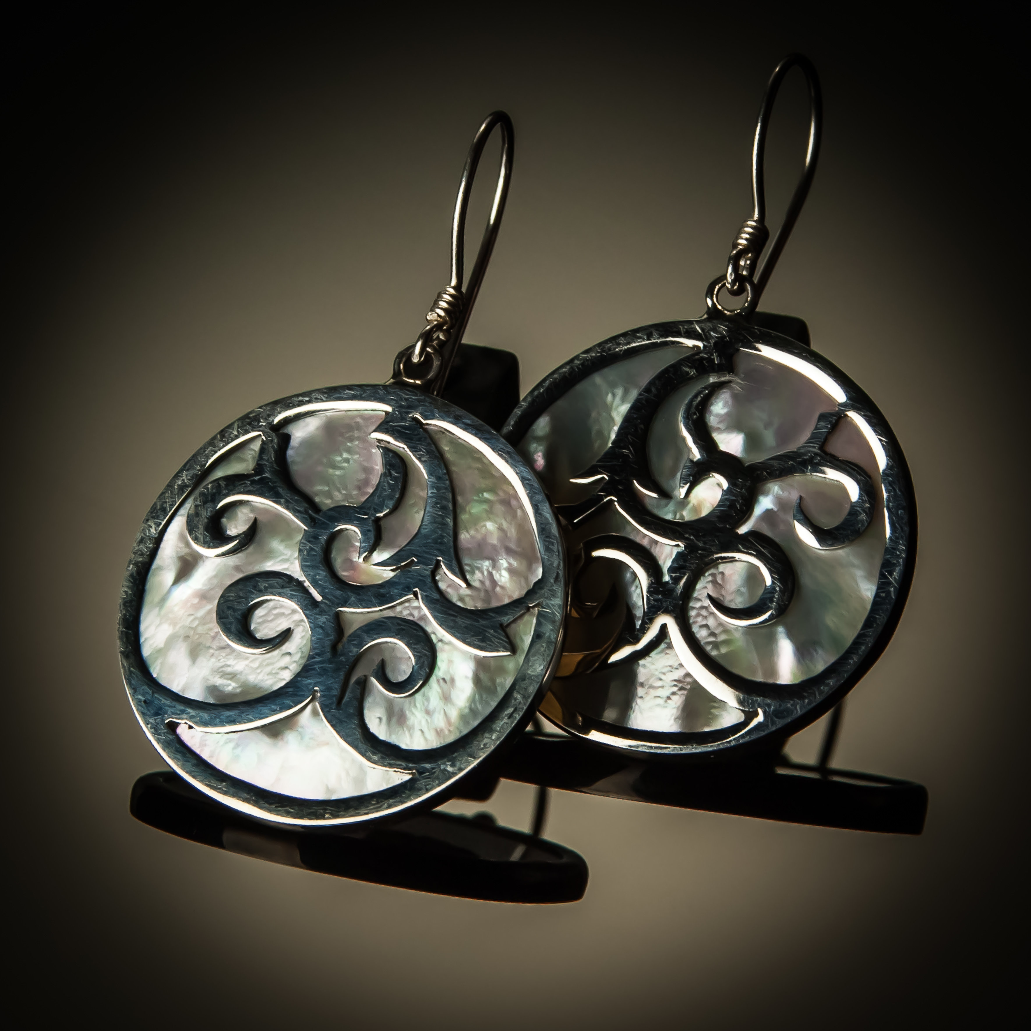 Mother of Pearl Sterling Silver Swirl Overlay Earrings ER-09083-Mother of pearl